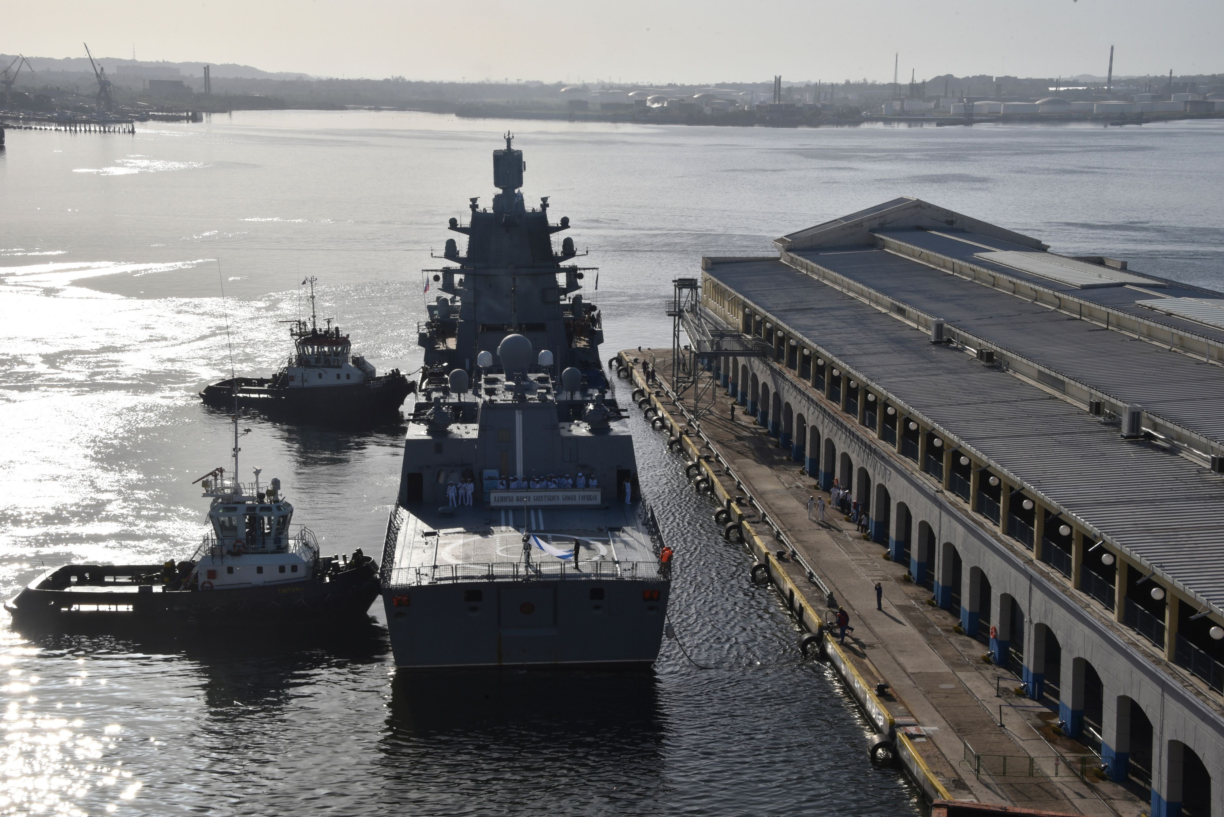 The Russian Federation Navy Admiral Gorshkov frigate is docked in Havana's port on June 24, 2019. (ADALBERTO ROQUE/AFP/Getty Images)