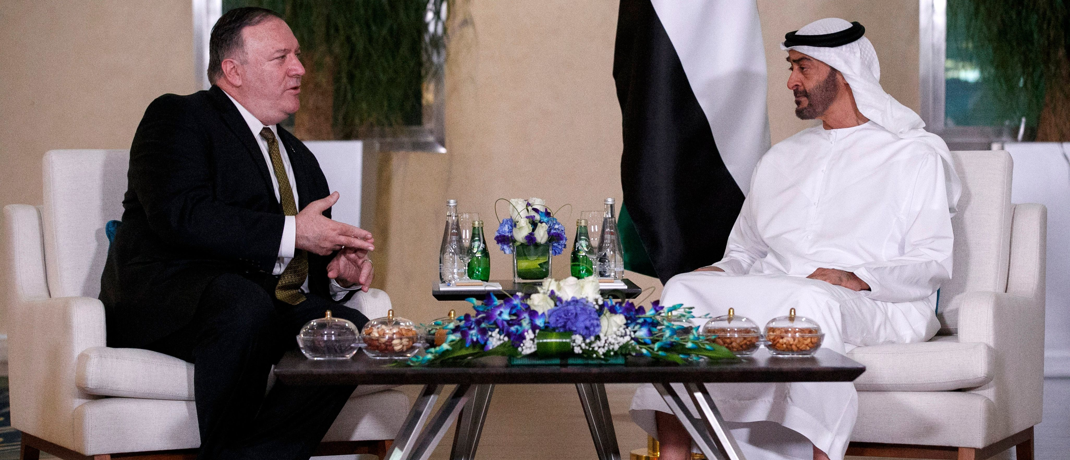 U.S. Secretary of State Mike Pompeo (L) meets with Mohamed ben Zayed Al-Nahyan, Crown Prince of Abu Dhabi and Deputy Supreme Commander of the UAE Armed Forces, in Abu Dhabi on June 24, 2019. (JACQUELYN MARTIN/AFP/Getty Images)