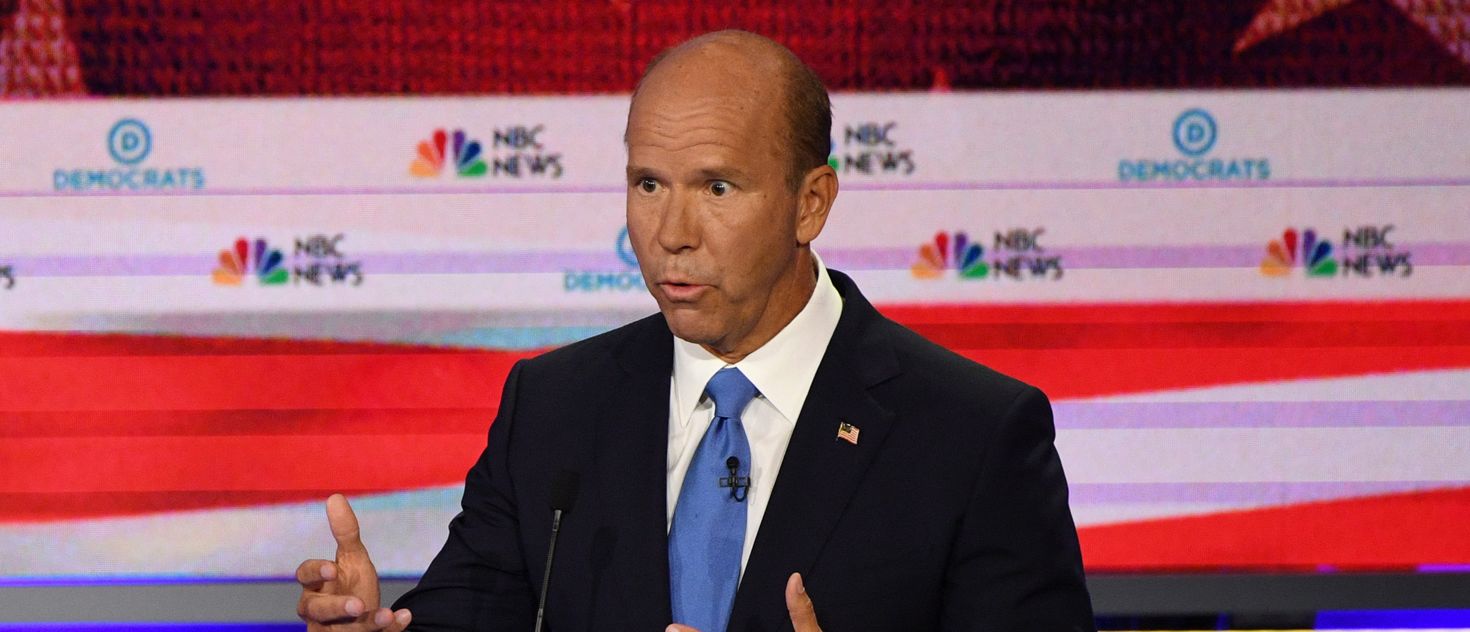 Former US Representative for Maryland's 6th congressional district John Delaney speaks during the first Democratic primary debate of the 2020 presidential campaign season hosted by NBC News (JIM WATSON/AFP/Getty Images)