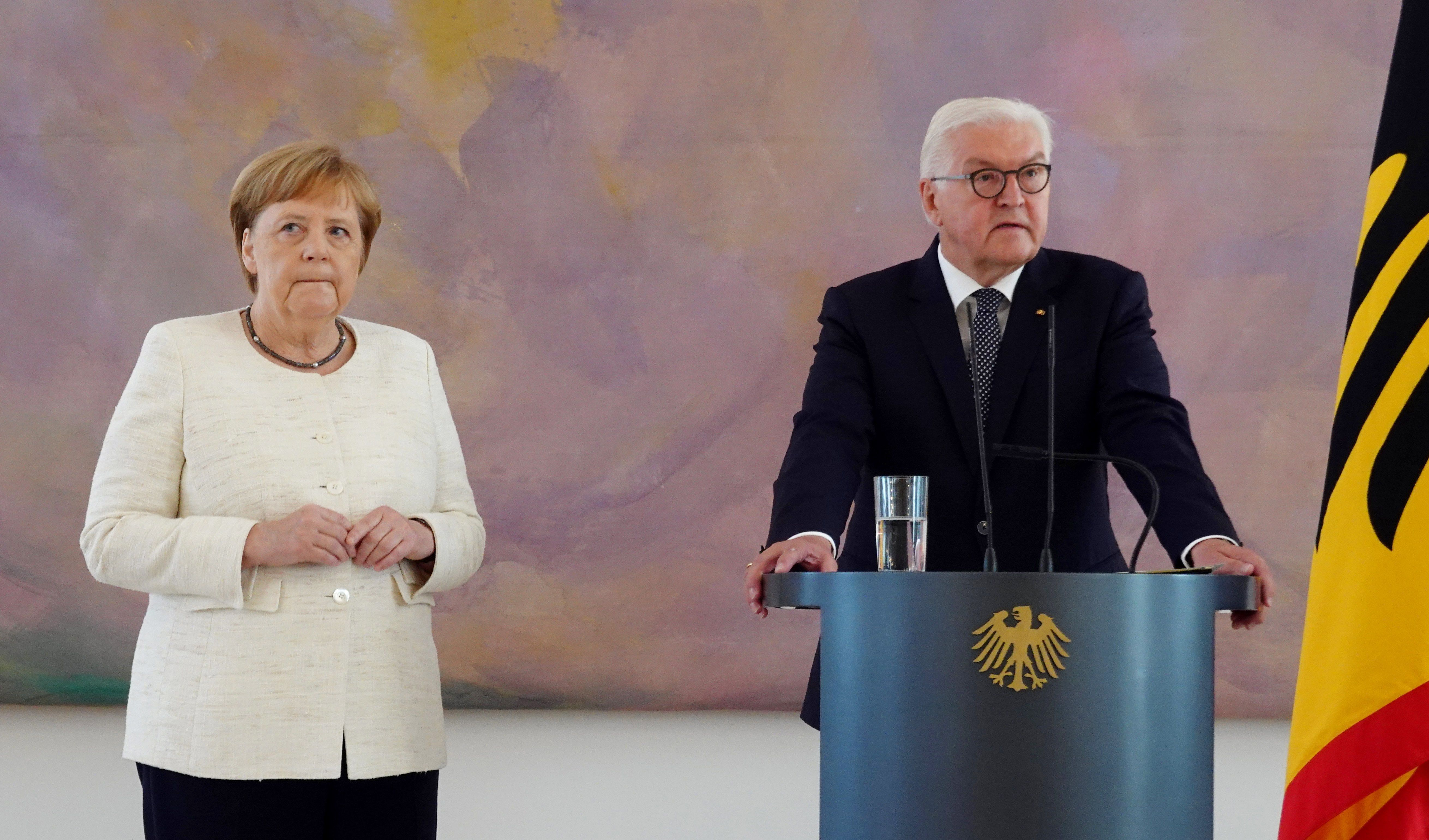 German Chancellor Angela Merkel attends a ceremony where the country's new Justice Minister was given her certificate of appointment by German President Frank-Walter Steinmeier at the presidential Bellevue Palace in Berlin on June 27, 2019. (KAY NIETFELD/AFP/Getty Images)
