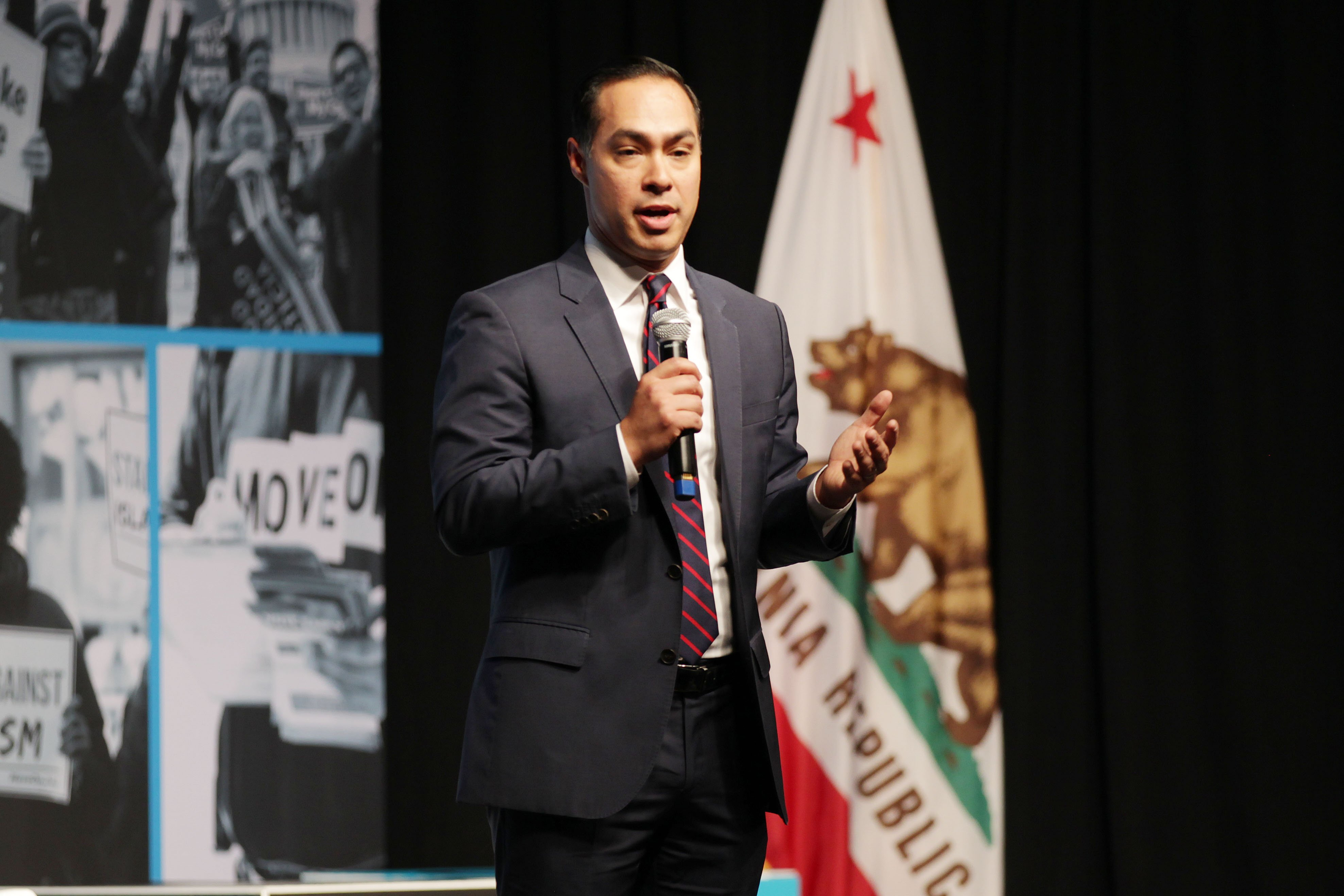 Julian Castro speaks onstage at the MoveOn Big Ideas Forum at The Warfield Theatre on June 01, 2019 in San Francisco, California. (Miikka Skaffari/Getty Images for MoveOn)