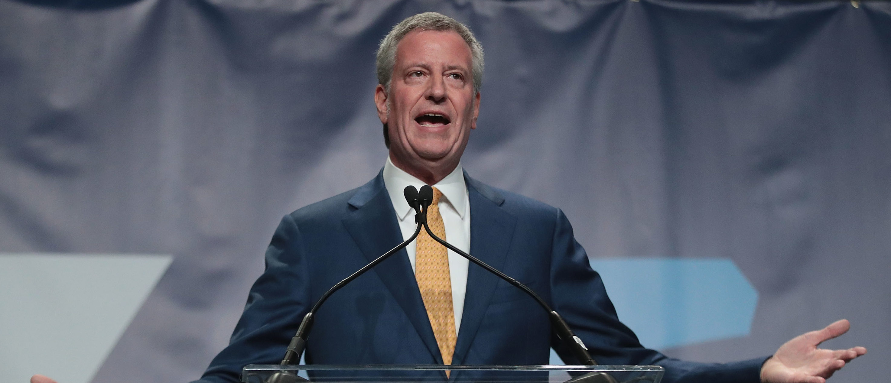 CEDAR RAPIDS, IOWA - JUNE 09: Democratic presidential candidate and New York City Mayor Bill De Blasio speaks at the Iowa Democratic Party's Hall of Fame Dinner on June 9, 2019 in Cedar Rapids, Iowa. Nearly all of the 23 Democratic candidates running for president were campaigning in Iowa this weekend. President Donald Trump has two events scheduled in the state on Tuesday. (Photo by Scott Olson/Getty Images)