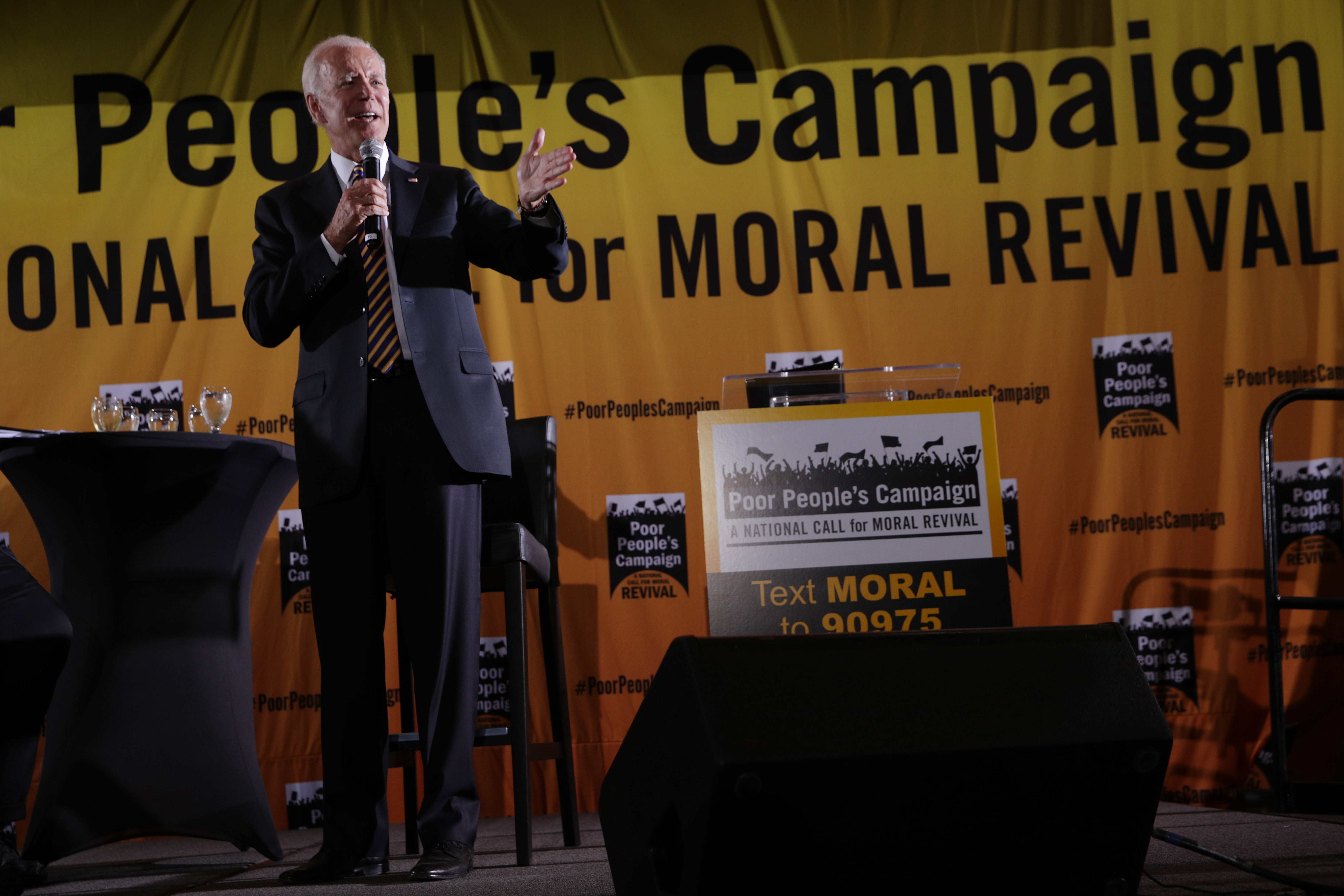 Democratic U.S. presidential hopeful and former Vice President Joe Biden addresses the Moral Action Congress of the Poor People's Campaign June 17, 2019 at Trinity Washington University in Washington, DC. (Photo by Alex Wong/Getty Images)