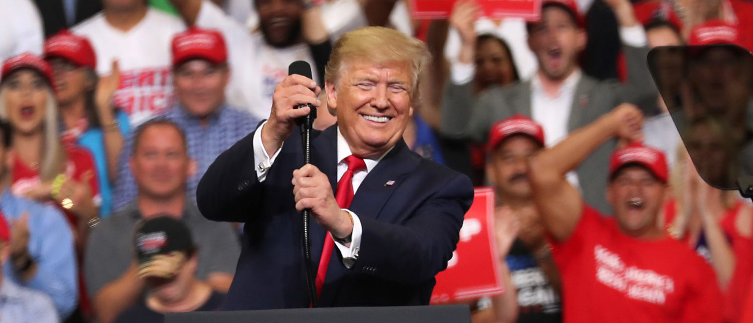 ORLANDO, FLORIDA - JUNE 18: U.S. President Donald Trump announces his candidacy for a second presidential term at the Amway Center on June 18, 2019 in Orlando, Florida. President Trump is set to run against a wide open Democratic field of candidates. (Photo by Joe Raedle/Getty Images)