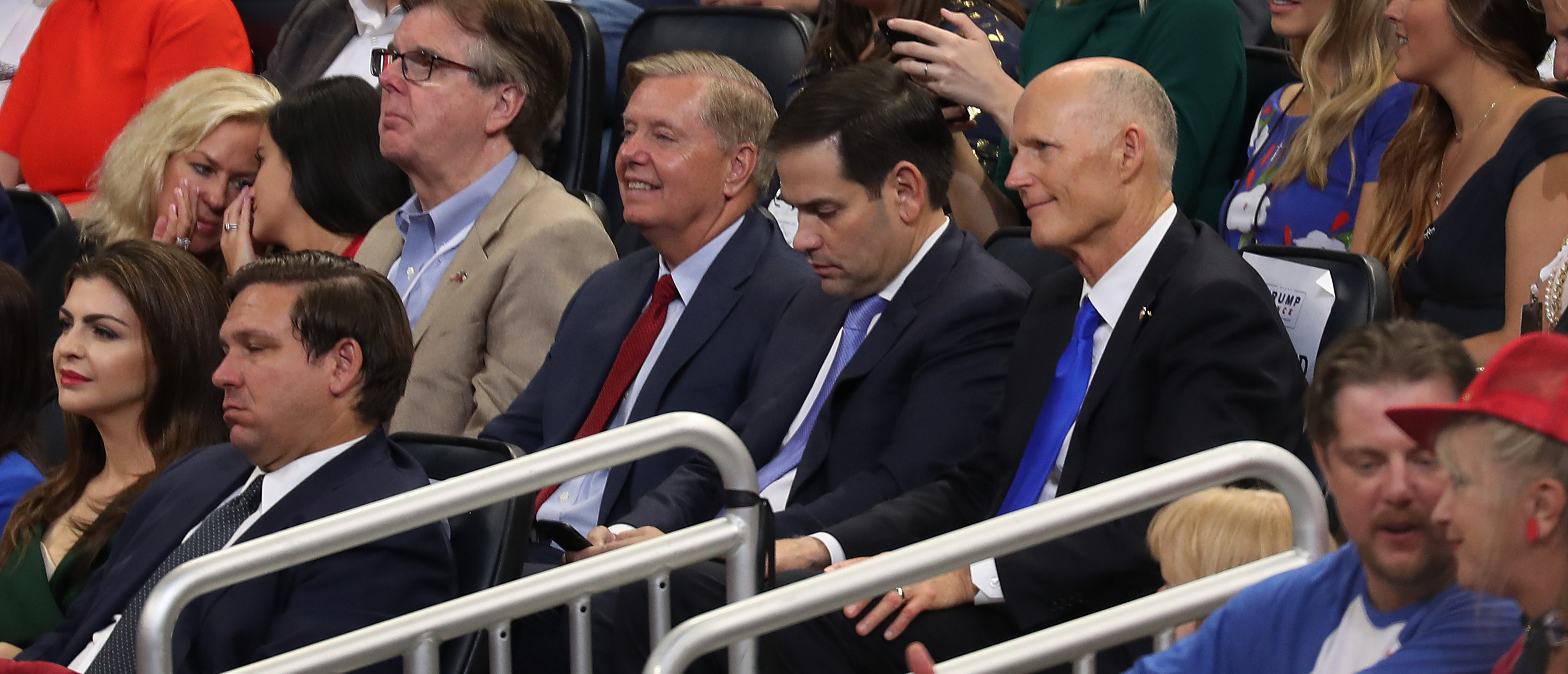 ORLANDO, FLORIDA - JUNE 18: Florida Gov. Ron DeSantis (front row) Lindsey Graham (R-SC), Sen. Marco Rubio (R-FL) and Sen. Rick Scott (R-FL) listen as U.S. President Donald Trump speaks during his rally where he announced his candidacy for a second presidential term at the Amway Center on June 18, 2019 in Orlando, Florida. President Trump is set to run against a wide open Democratic field of candidates. (Photo by Joe Raedle/Getty Images)