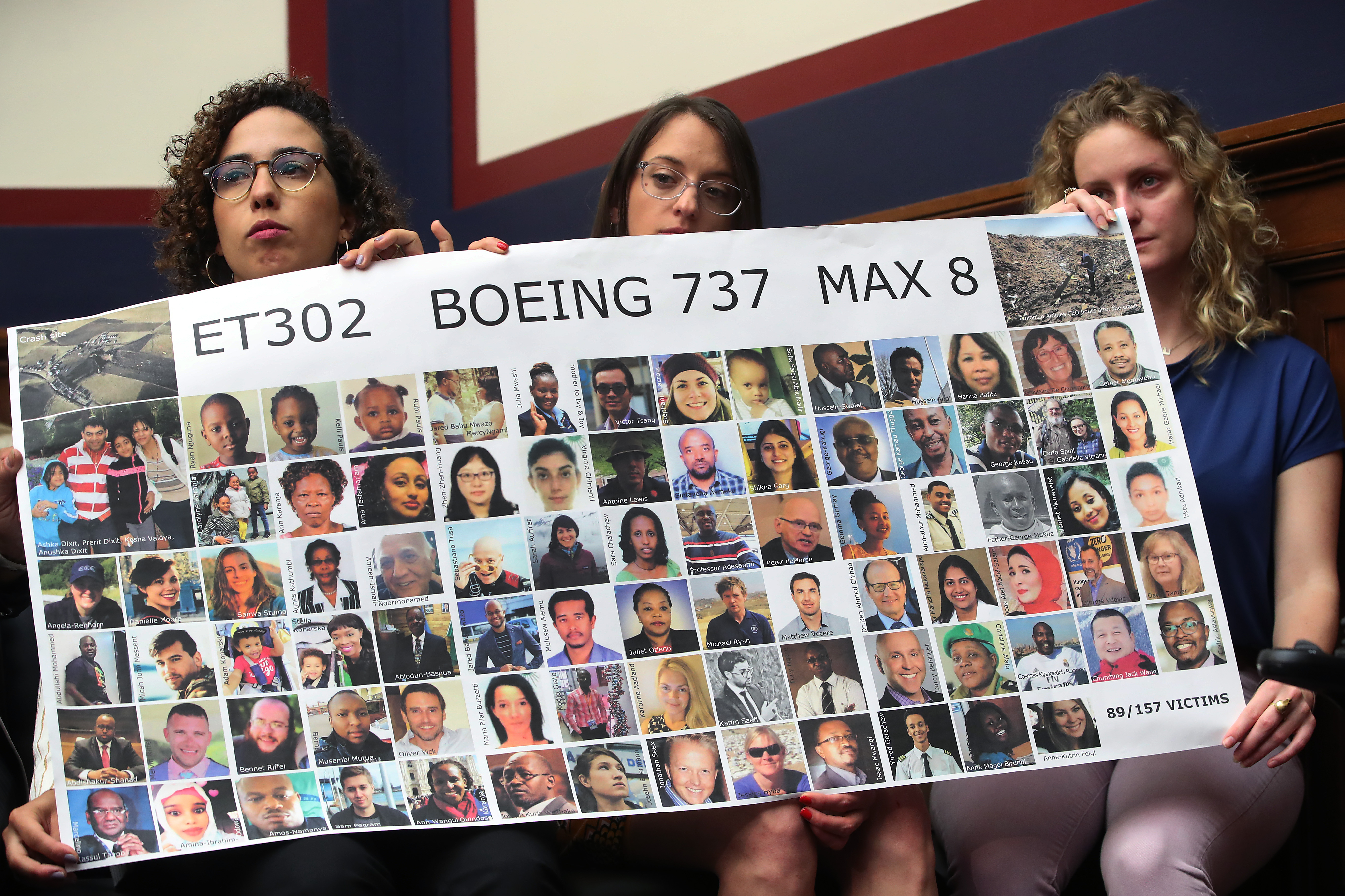 Diana Sotomyor, Hayley Freedman and Deveney Williams, friends of Samya Stumo, who was killed when Ethiopian Airlines Flight ET302 crashed in Ethiopia, listen to testimony during a House Transportation and Infrastructure Committee hearing on Capitol Hill June 19, 2019 in Washington, DC. (Photo by Mark Wilson/Getty Images)