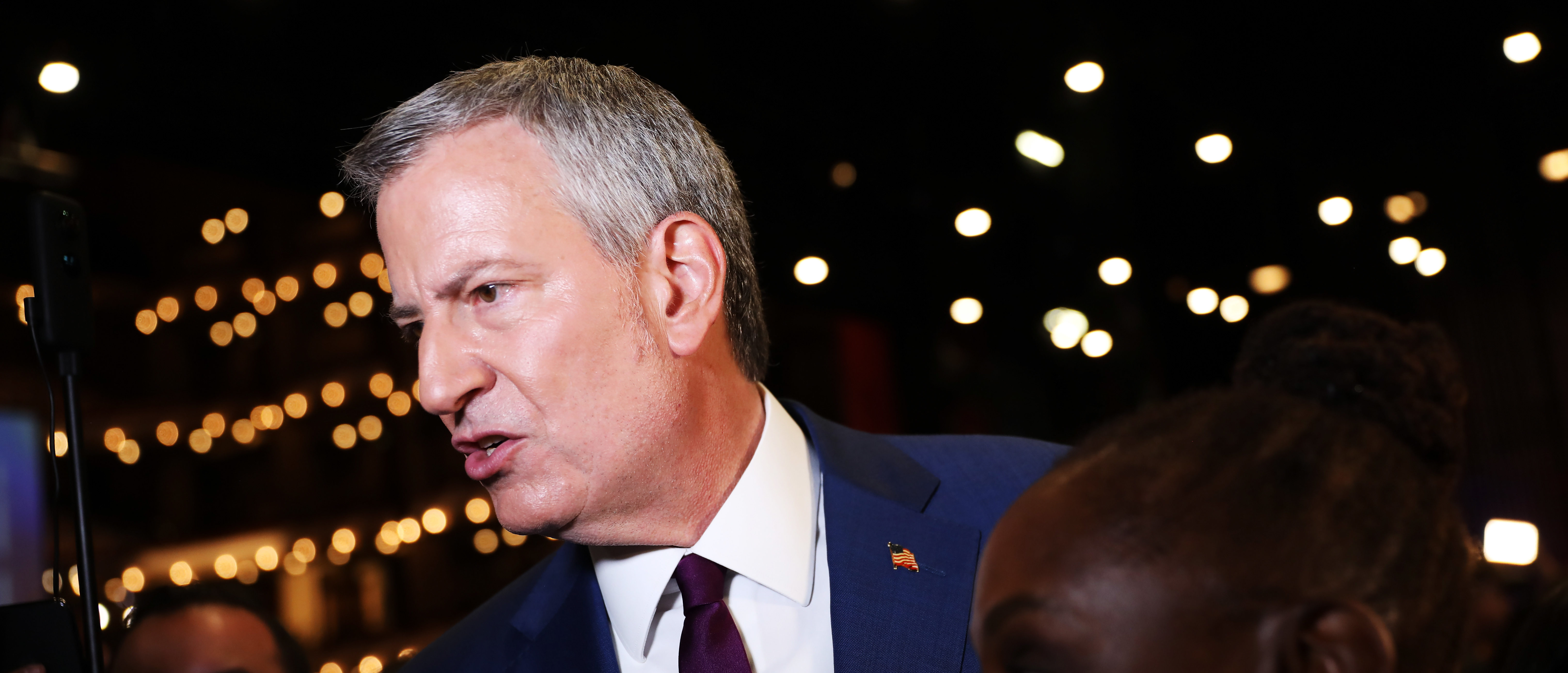 New York City Mayor Bill De Blasio speaks to the media in the spin room following the first night of the Democratic presidential debate on June 26, 2019 in Miami, Florida. (Joe Raedle/Getty Images)