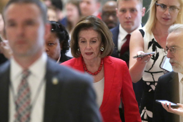 WASHINGTON, DC - JUNE 27: U.S. Speaker of the House Rep. Nancy Pelosi (D-CA) walks towards the House chamber for a vote June 27, 2019 at the U.S. Capitol in Washington, DC. Pelosi said she will bring the Senate version of a $4.5 billion bill on combating the humanitarian crisis at the southern border to the House floor for a vote after initially saying she wanted to reconcile the House and Senate versions. (Photo by Alex Wong/Getty Images)
