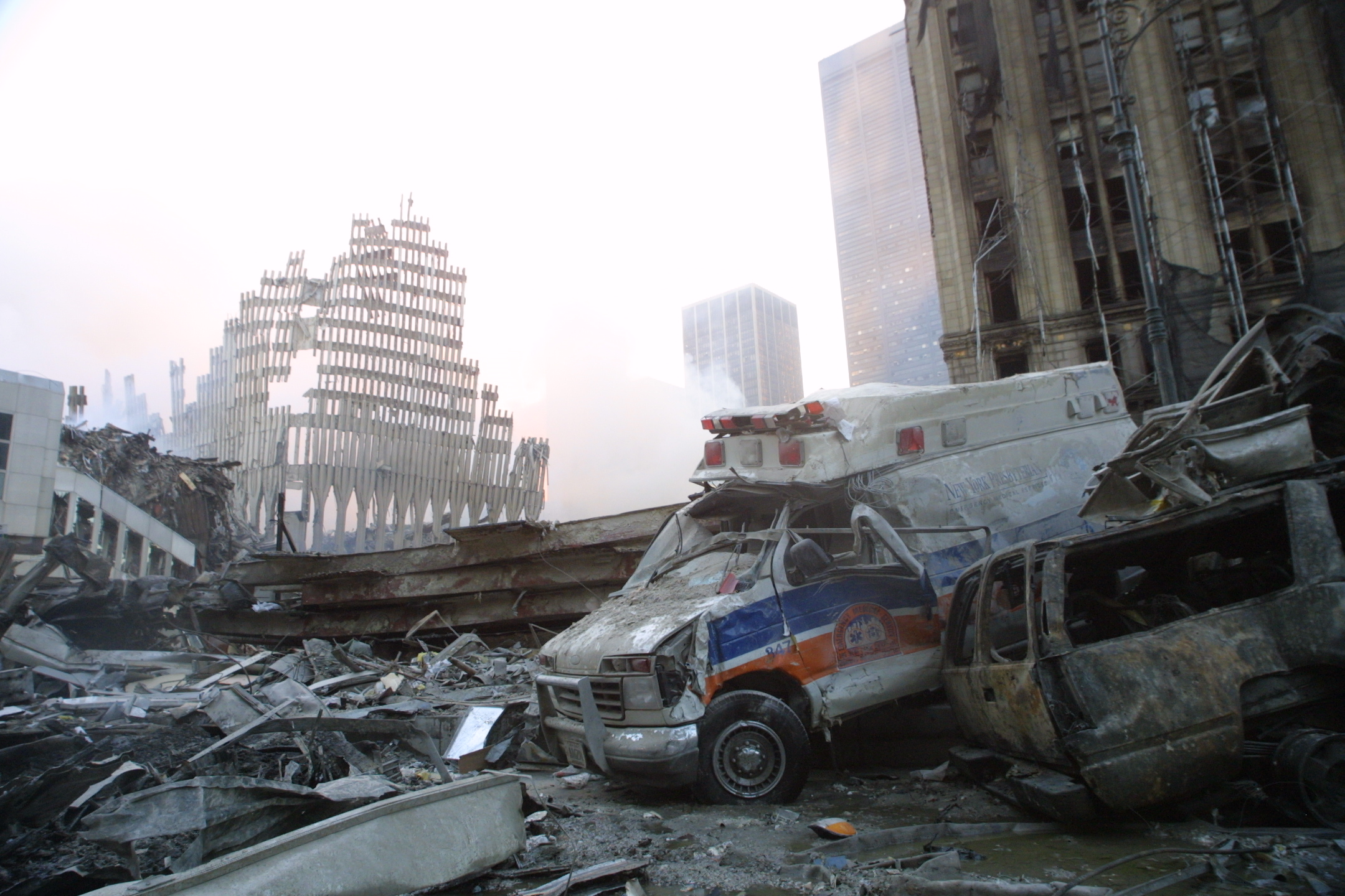 Khalifa al-Subaiy, who allegedly funded the September 11 attacks, is able to access large sums of his money. A crushed ambulance pictured here lies near the wreckage of the World Trade Center September 13, 2001 in New York City. (Mario Tama/Getty Images)