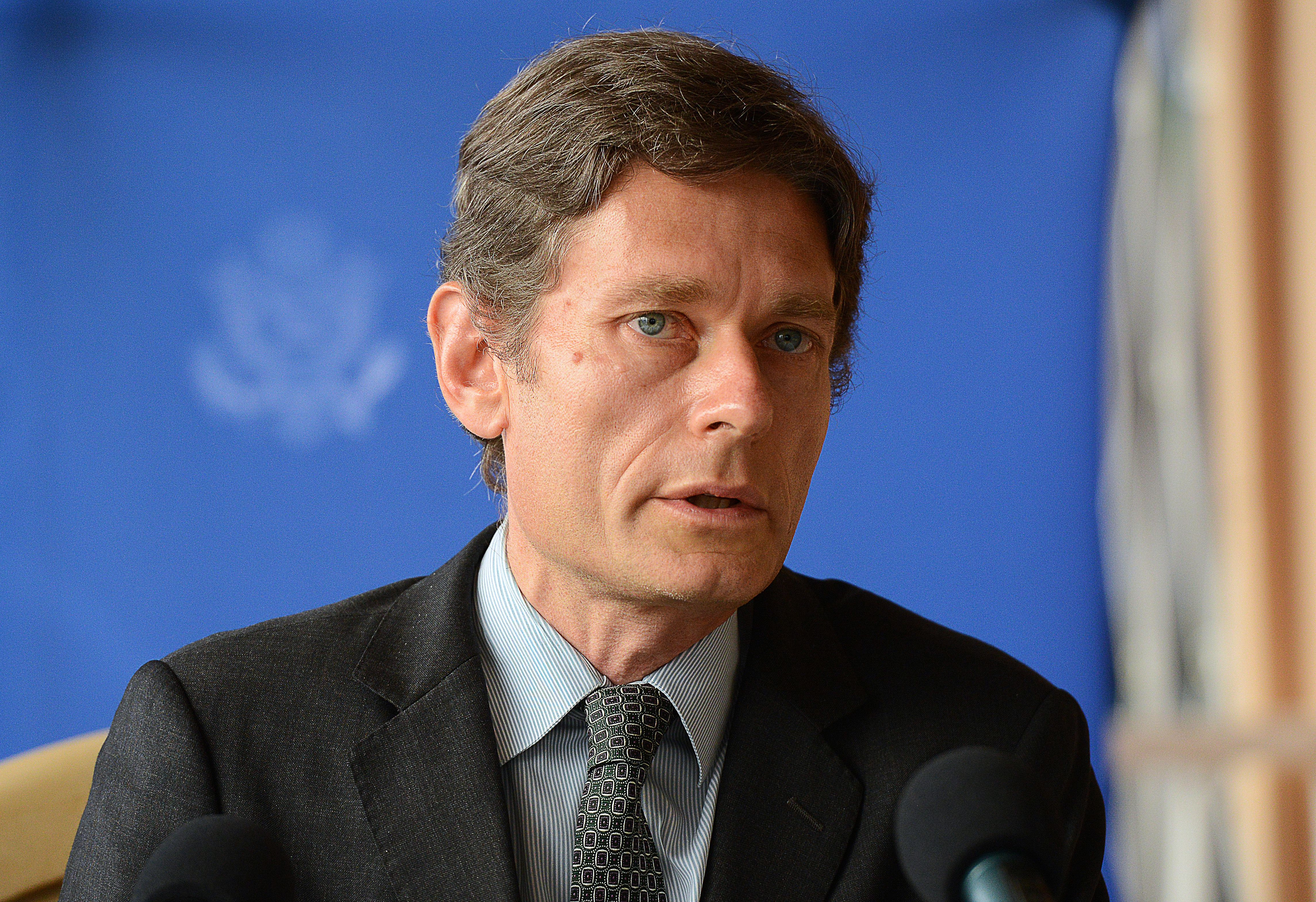 US Assistant Secretary of State for Democracy, Human Rights and Labor Tom Malinowski speaks during a press conference on April 30, 2015 in Bujumbura. Malinowski arrived in Burundi on April 29 for talks with officials amid deadly demonstrations against President Pierre Nkurunziza's bid for a third term. At least nine protestors were hurt in Bujumbura on April 30 in renewed clashes, the Red Cross said, confirming that the overall death toll from days of violent protests now stands at six dead. (SIMON MAINA/AFP/Getty Images)