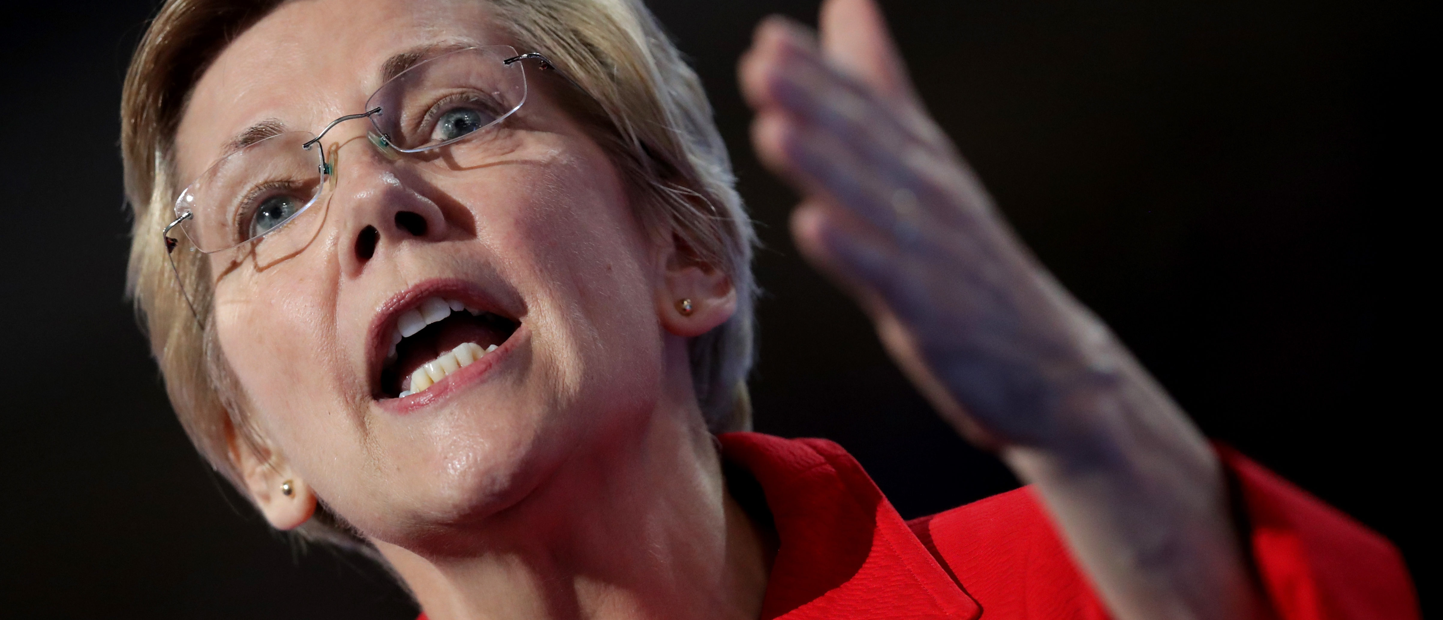 Sen. Elizabeth Warren (D-MA) delivers remarks on the first day of the Democratic National Convention at the Wells Fargo Center, July 25, 2016 in Philadelphia, Pennsylvania. An estimated 50,000 people are expected in Philadelphia, including hundreds of protesters and members of the media. The four-day Democratic National Convention kicked off July 25. (Photo by Chip Somodevilla/Getty Images)