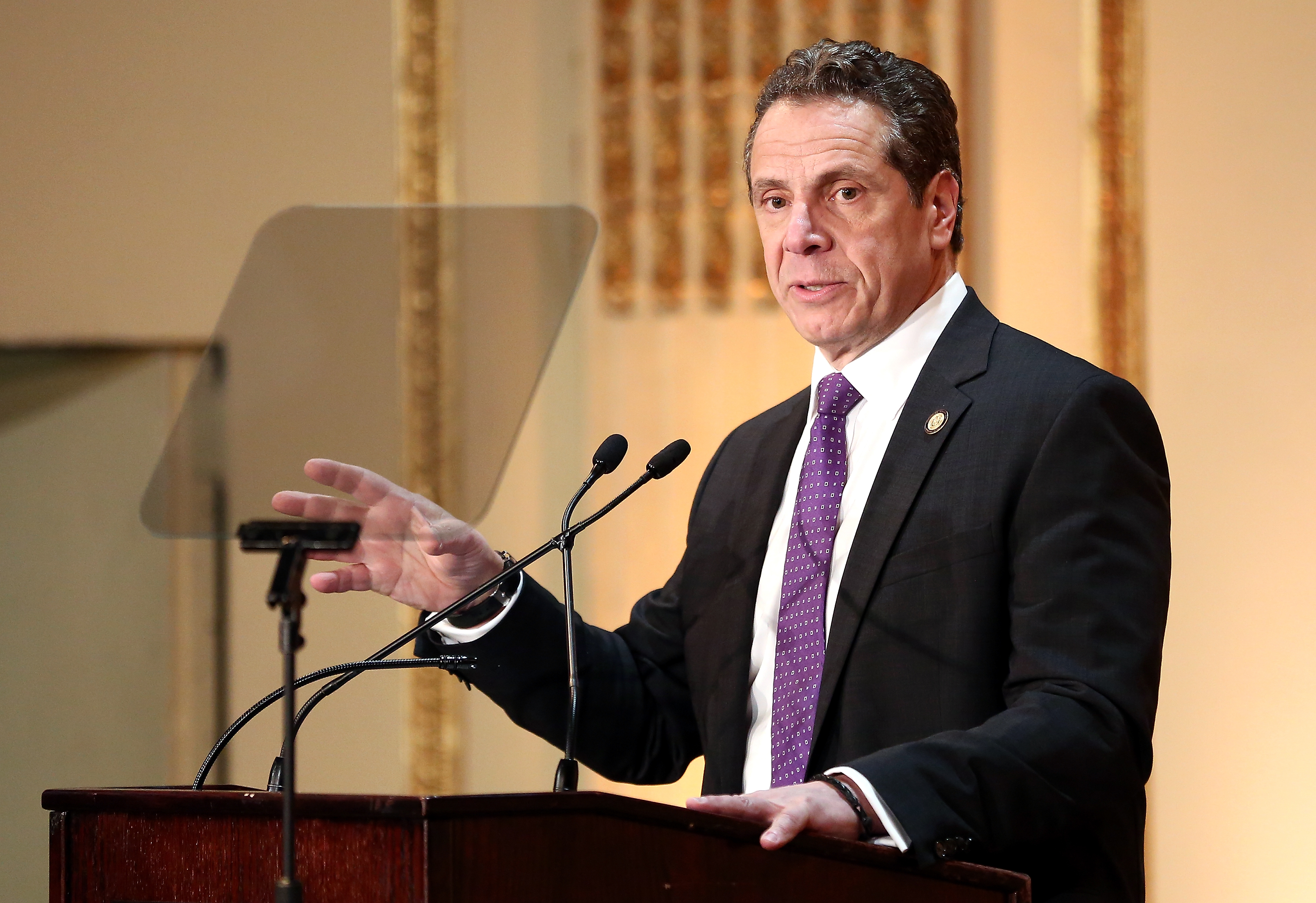 Governor of New York State Andrew Cuomo speaks on stage at the HELP USA 30th Anniversary Event at The Plaza Hotel on March 16, 2017 in New York City. (Photo by Monica Schipper/Getty Images)
