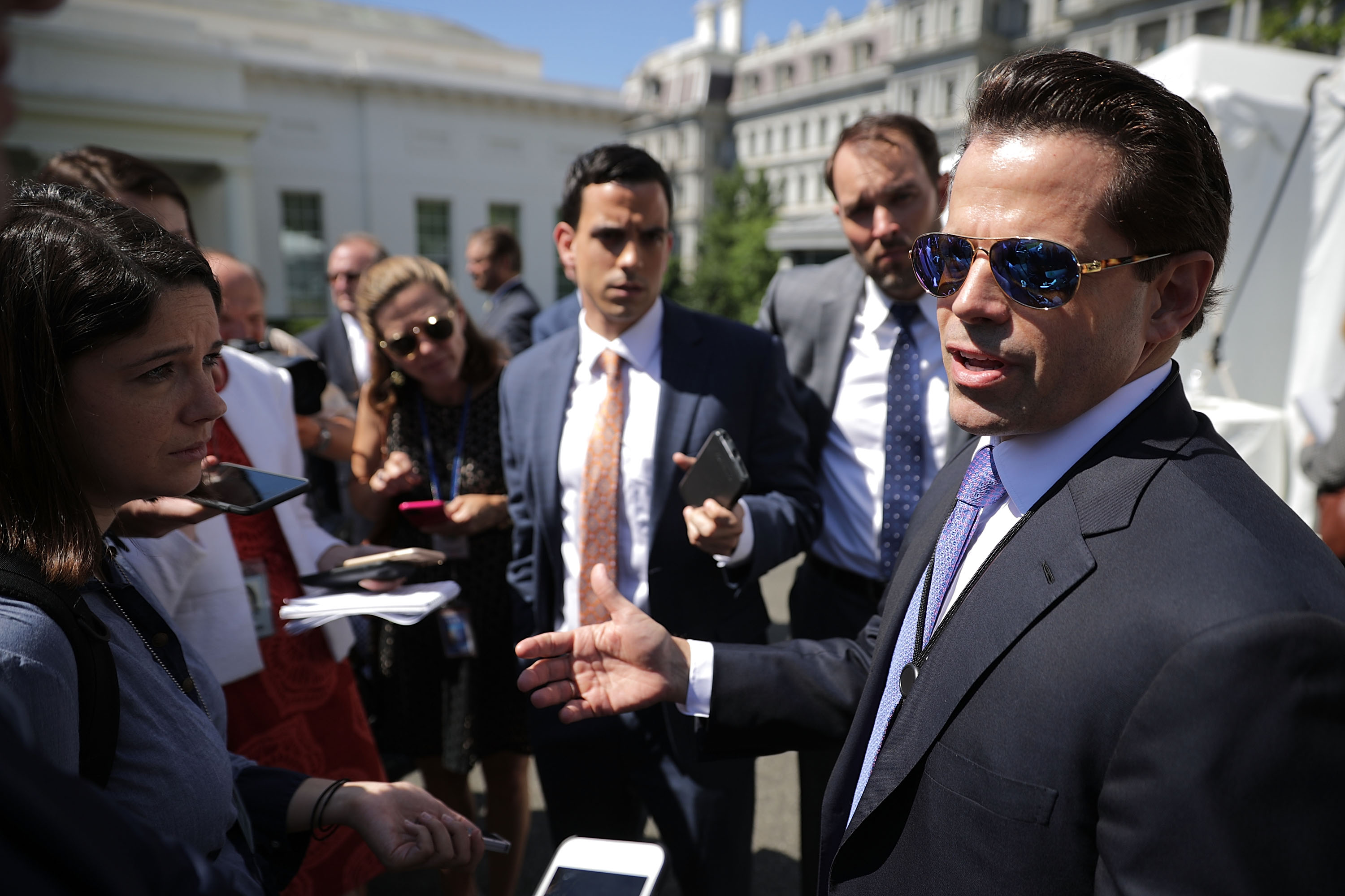 "WASHINGTON, DC - JULY 25: Incoming White House Communications Director Anthony Scaramucci talks with reporters during ""Regional Media Day"" at the White House July 25, 2017 in Washington, DC. Conservative media outlets were invited to set up temporary studios on the north side of the West Wing to interview White House officials and members of President Donald Trump's cabinet. (Photo by Chip Somodevilla/Getty Images)"