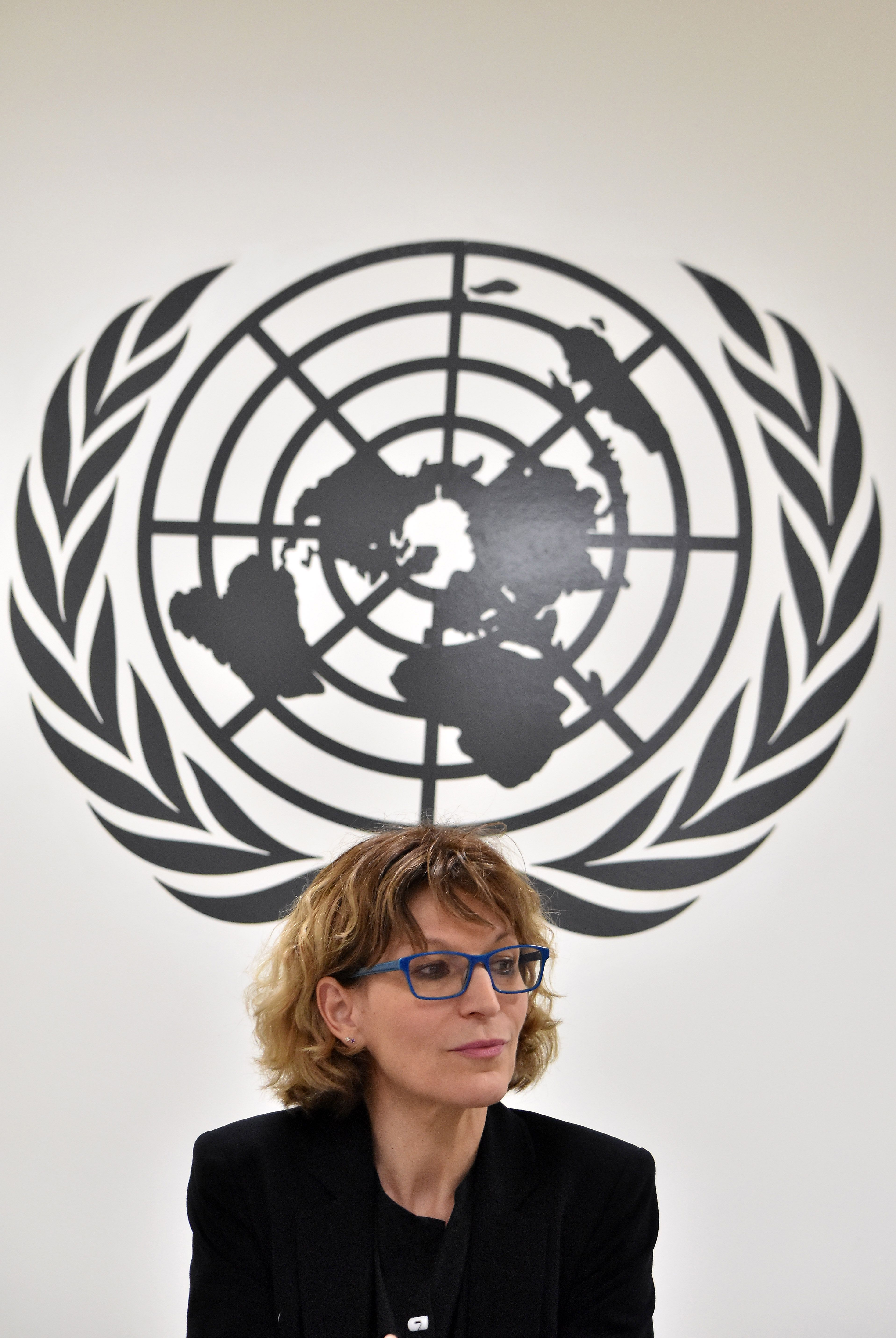 Agnes Callamard, the UN special rapporteur on extrajudicial killings, speaks during a press conference in San Salvador on February 5, 2018. (MARVIN RECINOS/AFP/Getty Images)