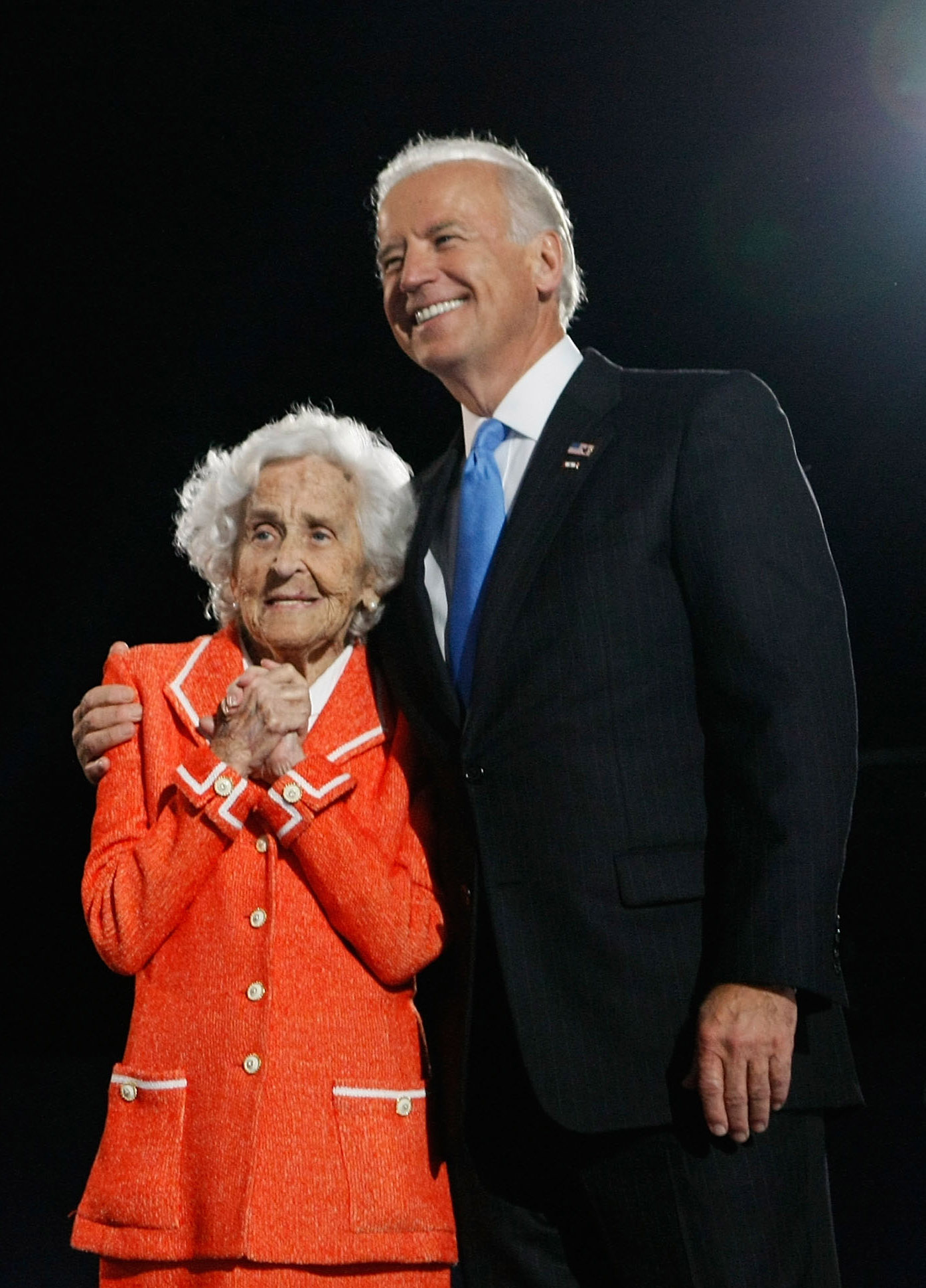 U.S. Vice-President elect Joe Biden stands with his mother Jean during an election night gathering in Grant Park on November 4, 2008 in Chicago, Illinois. (Joe Raedle/Getty Images)