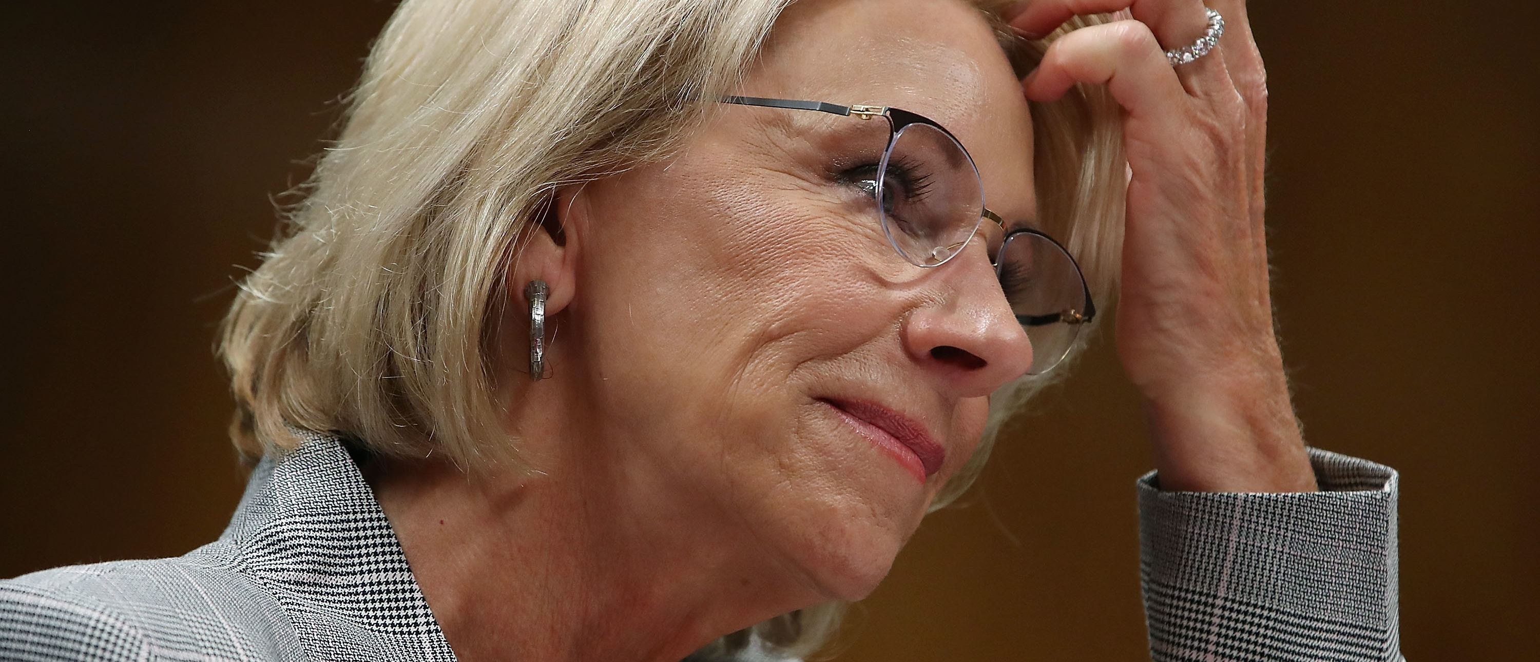 Education Secretary Betsy DeVos testifies during a Senate Appropriations Subcommittee hearing on Capitol Hill, June 5, 2018 in Washington, DC. The subcommittee heard testimony on the administrations FY2019 budget request for the Education Department. (Photo by Mark Wilson/Getty Images)
