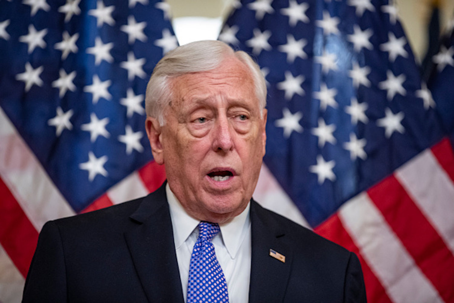 WASHINGTON, DC - APRIL 09: House Majority Leader Steny Hoyer, (D-MD) speaks during a bill enrollment ceremony for legislation ending U.S. involvement in the war in Yemen on April 9, 2019 in Washington, DC. President Donald Trump has said that he would veto the legislation if passed. (Photo by Alex Edelman/Getty Images)