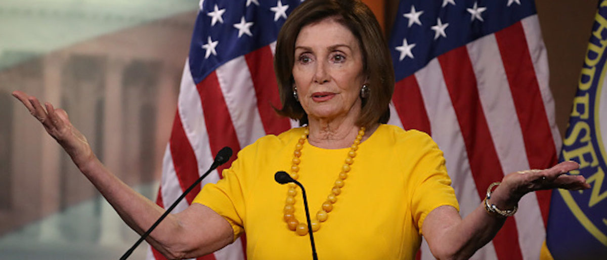 WASHINGTON, DC - JUNE 20: House Speaker Nancy Pelosi (D-CA) speaks during her weekly news conference on Capitol Hill, June 20, 2019 in Washington, DC. Speaker Pelosi spoke on several topics including former Vice President Joe Biden, Iran and House investigations into the Trump administration. (Photo by Mark Wilson/Getty Images)