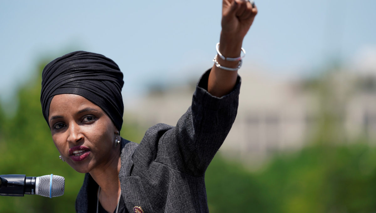 U.S. Rep. Ilhan Omar (D-MN) speaks at a rally calling on Congress to censure President Donald Trump on Capitol Hill in Washington, U.S., April 30, 2019. REUTERS/Aaron P. Bernstein