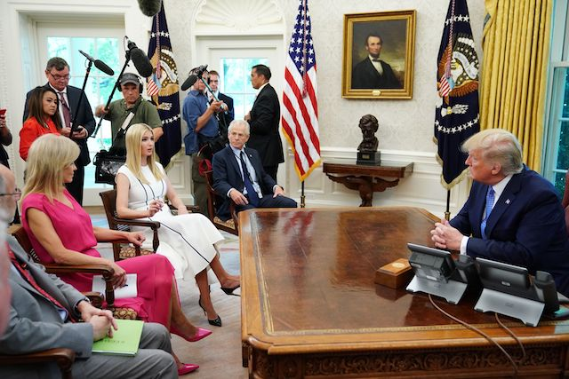 Ivanka Trump, counselor to the president, speaks as US President Donald Trump listens as he meets with advisors to receive an update on the fentanyl epidemic in the Oval Office of the White House in Washington, DC on June 25, 2019. (Photo credit: MANDEL NGAN/AFP/Getty Images)
