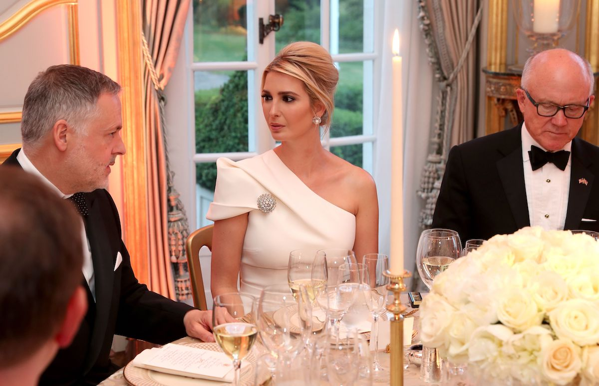 Ivanka Trump (C) attends a dinner at Winfield House, the residence of the US Ambassador, where US President Trump is staying whilst in London, on June 4, 2019, on the second day of the US President's three-day State Visit to the UK. (Photo credit should read CHRIS JACKSON/AFP/Getty Images)