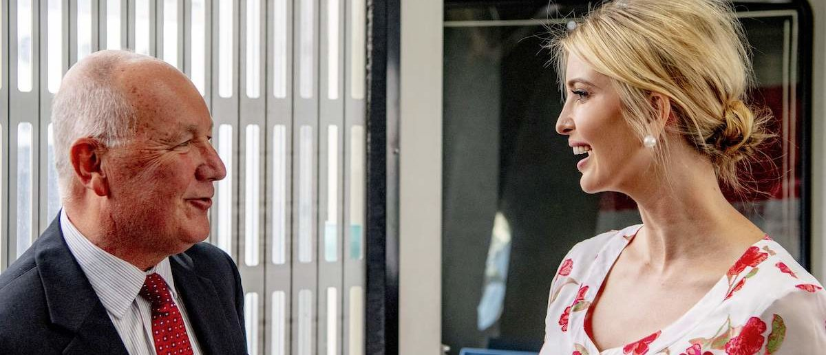 Senior Advisor to the US President Ivanka Trump (R) speaks with US Ambassador to The Netherlands Pete Hoekstra as she arrives at Schiphol Airport on June 5, 2019 to attend the Global Entrepreneurship Summit (GES) 2019 in The Hague to speak about women's rights during the closing of the event. (Photo by Robin UTRECHT / ANP / AFP) / Netherlands OUT (Photo credit should read ROBIN UTRECHT/AFP/Getty Images)