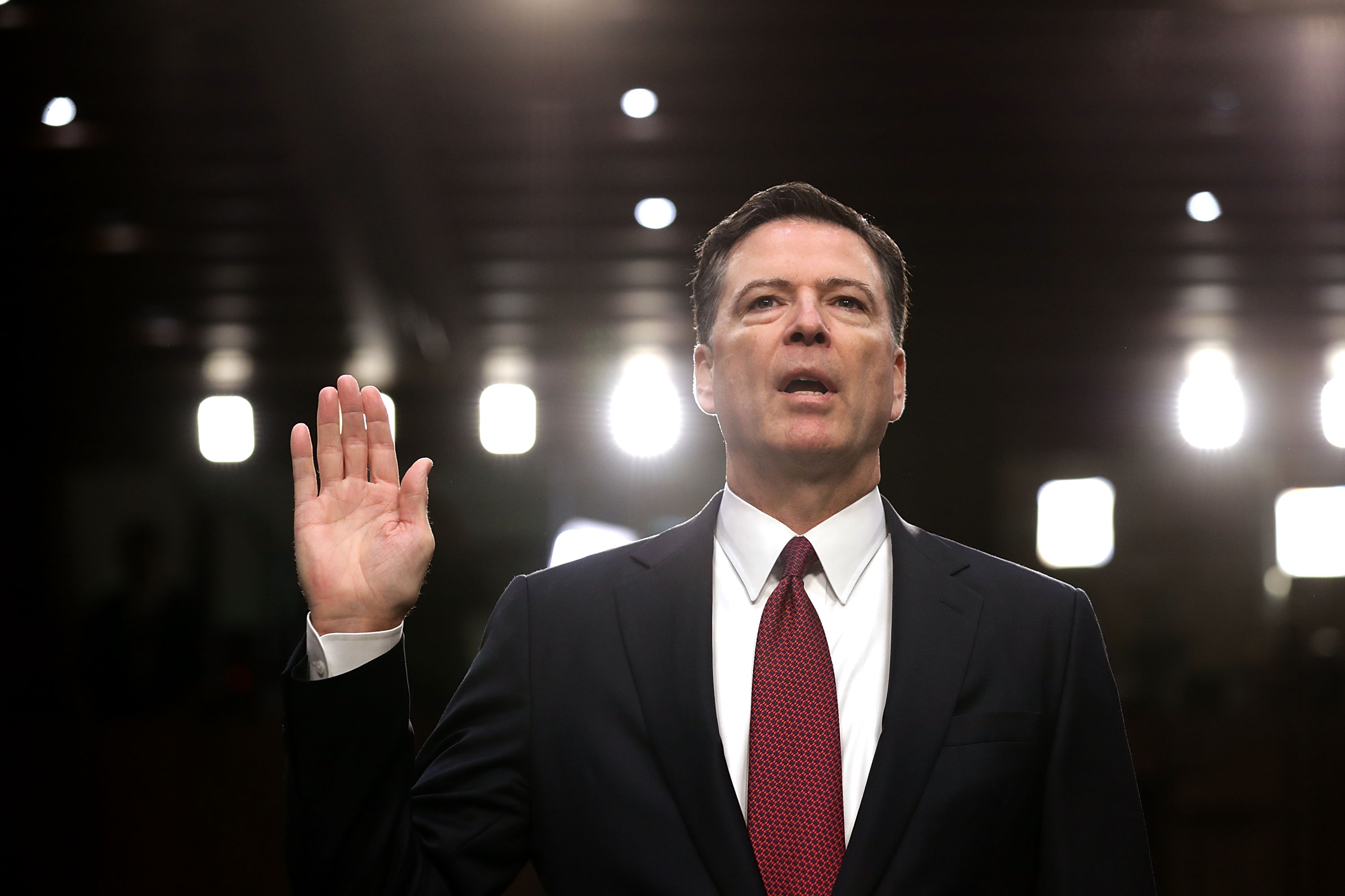 Former FBI Director James Comey is sworn in before giving testimony to the Senate Intelligence Committee on June 8, 2017. (Chip Somodevilla/Getty Images)
