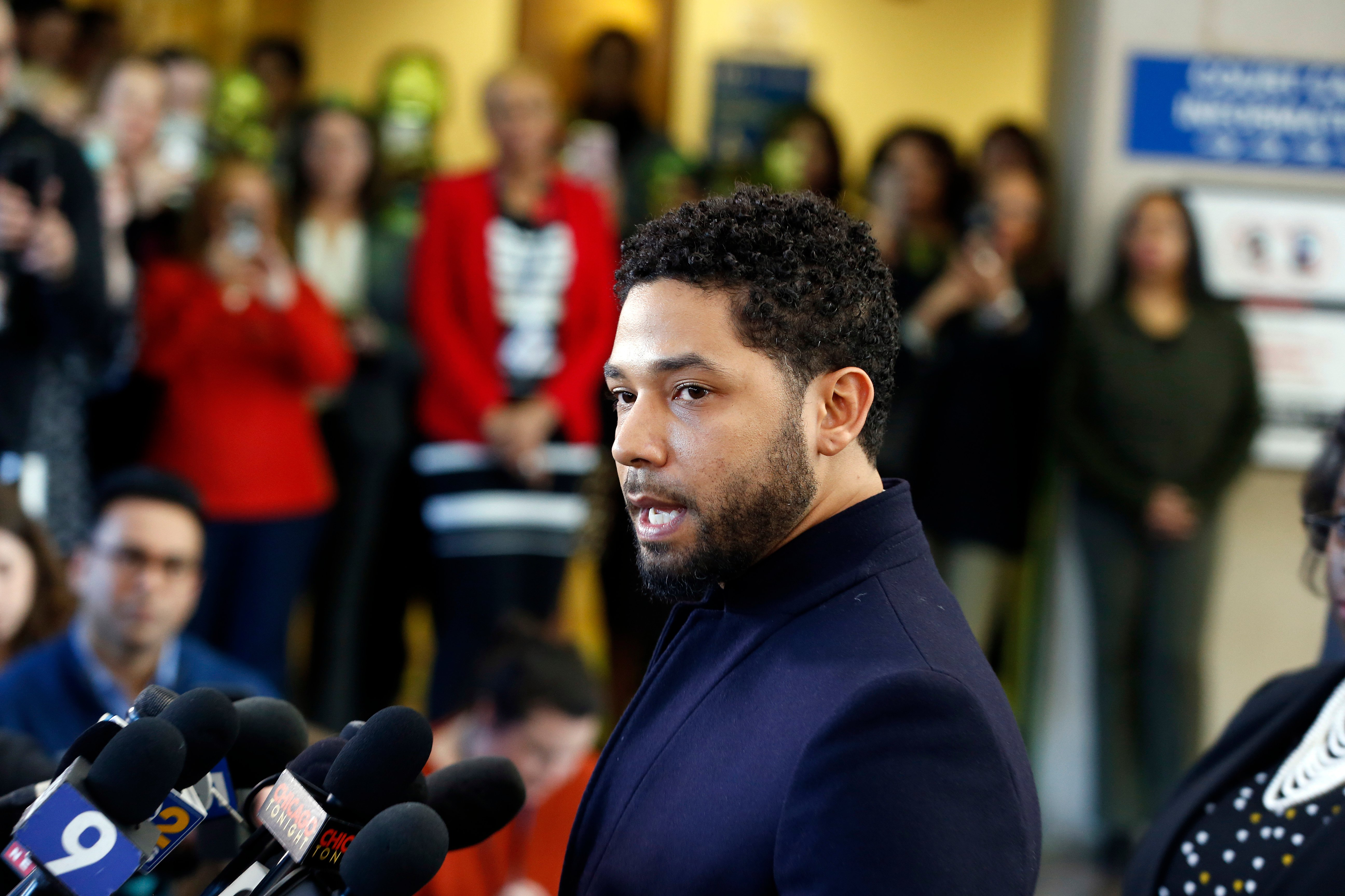 Actor Jussie Smollett speaks with members of the media after his court appearance at Leighton Courthouse on March 26, 2019 in Chicago, Illinois. This morning in court it was announced that all charges were dropped against the actor. (Photo by Nuccio DiNuzzo/Getty Images)