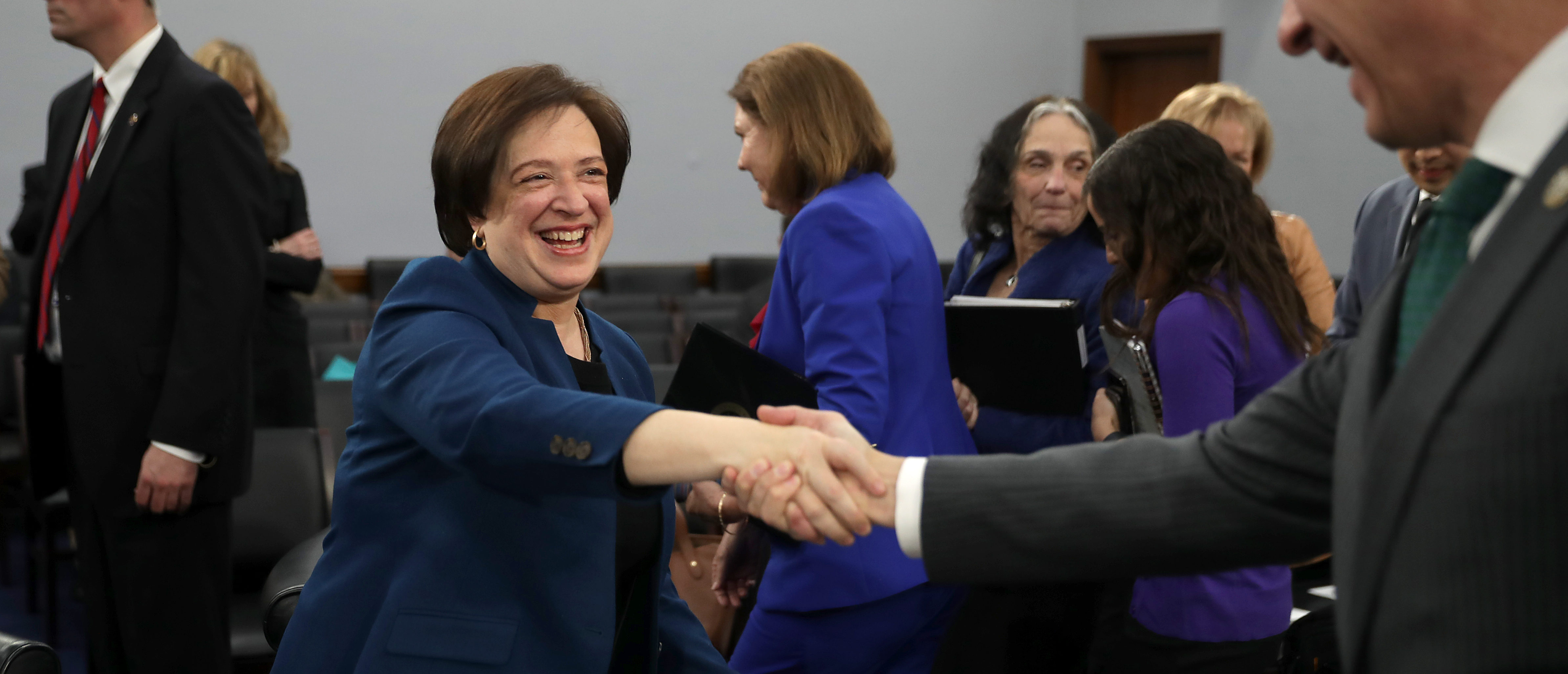 Justice Elana Kagan shakes hands with Rep. Matt Cartwright (D-PA) after a hearing about the Supreme Court's budget on March 07, 2019. (Chip Somodevilla/Getty Images)