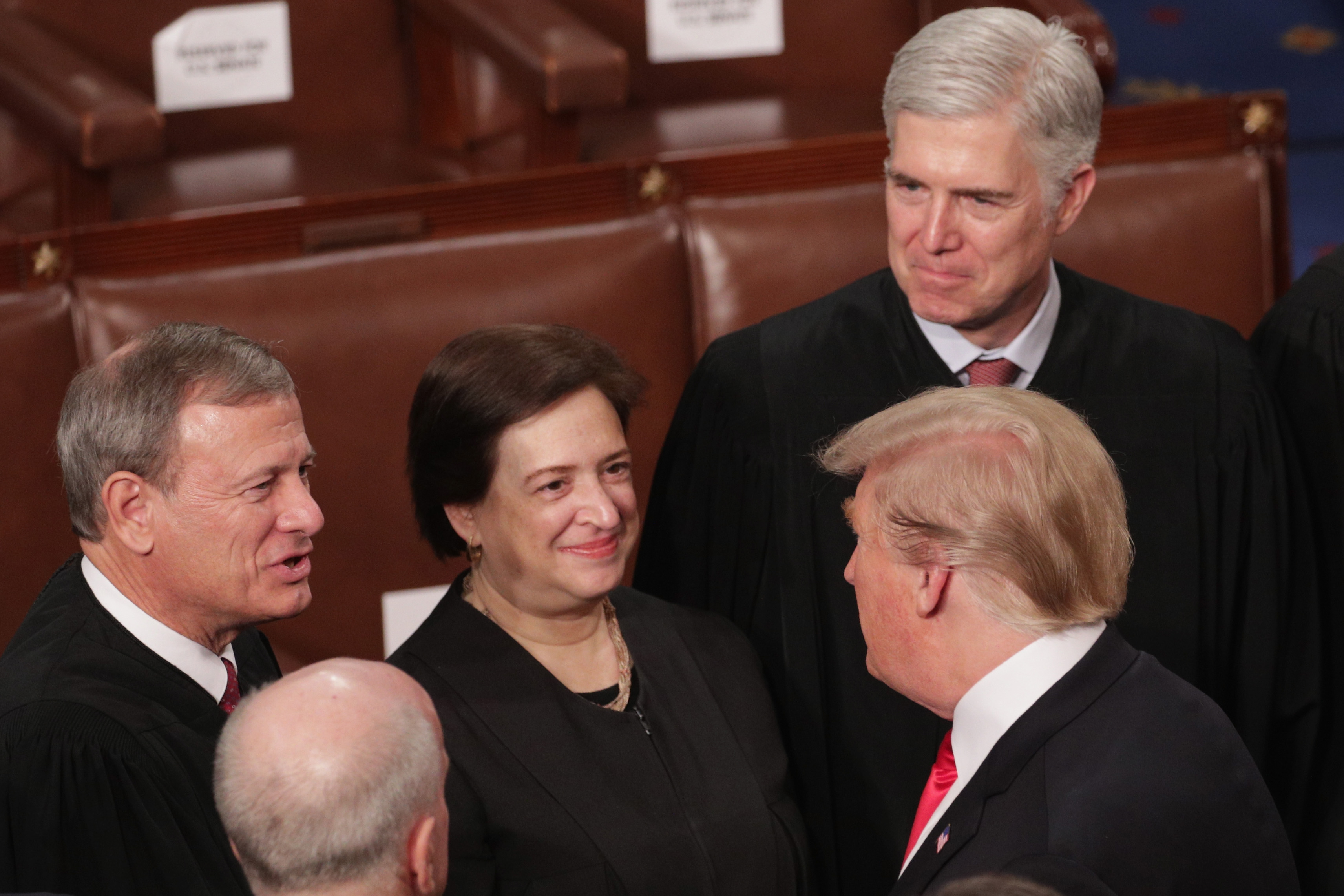 President Donald Trump greets members of the Supreme Court after the State of the Union address on February 5, 2019. (Alex Wong/Getty Images)