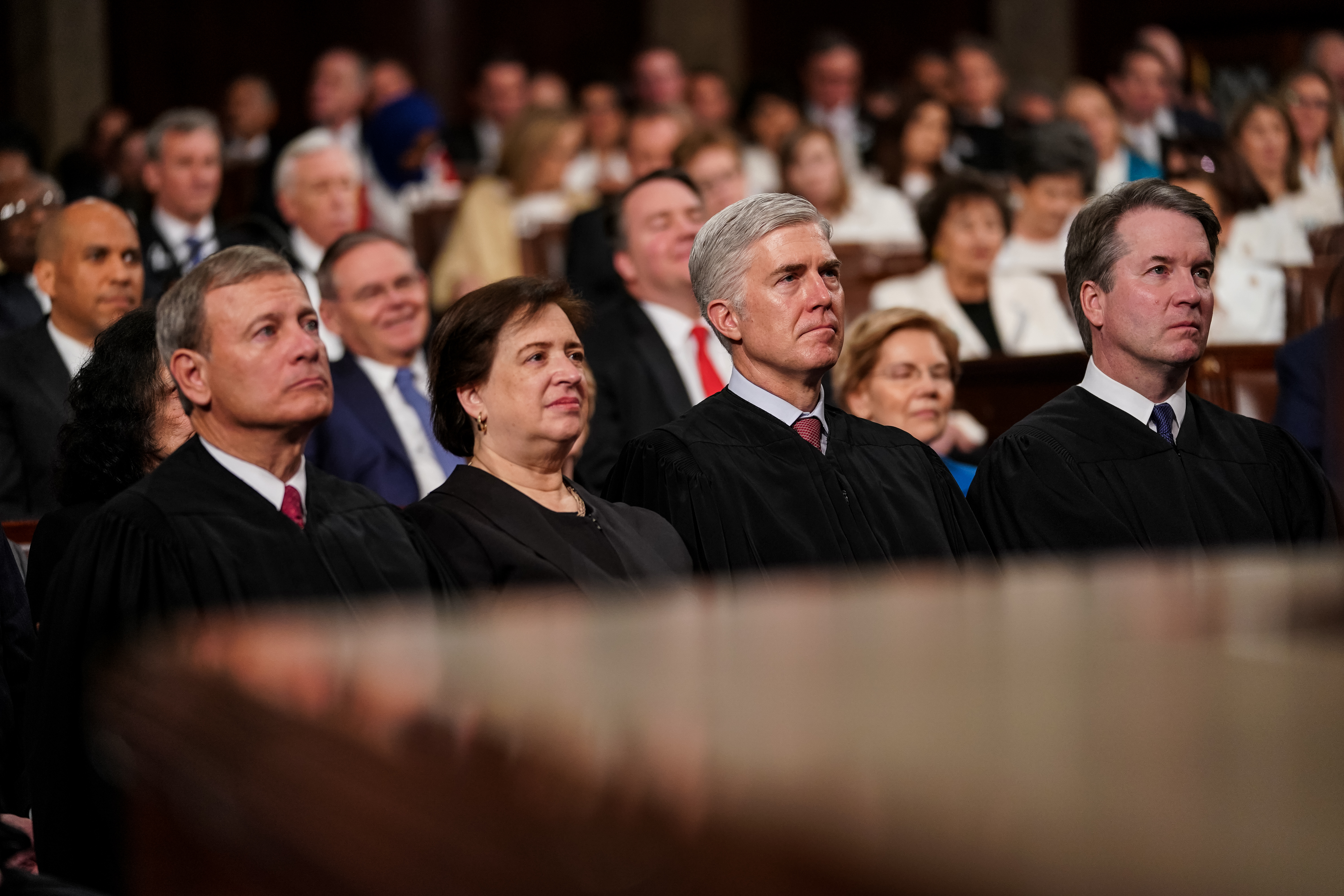 Chief Justice John Roberts and Justices Elena Kagan, Neil Gorsuch, and Brett Kavanaugh at the State of the Union address on February 5, 2019. (Doug Mills/Pool/Getty Images)
