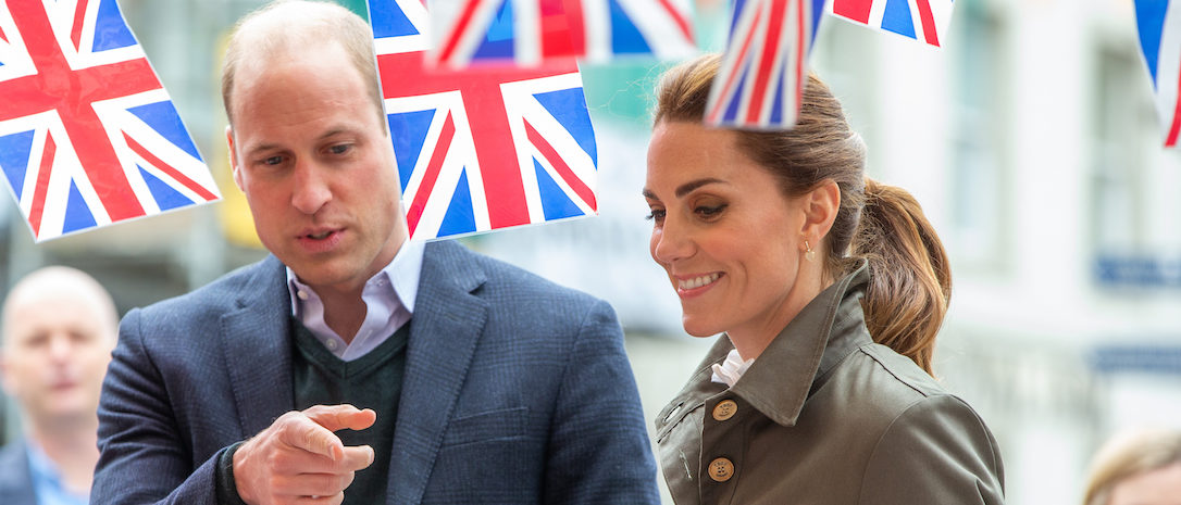 Prince William, Duke of Cambridge and Catherine, Duchess of Cambridge meet members of the public they visit Keswick Market place during a visit to Cumbria on June 11, 2019 in Keswick, England. The royal couple visited Keswick to join a celebration to recognise the contribution of individuals and local organisations in supporting communities and families across Cumbria. They then went on to visit a traditional fell sheep farm. (Photo by Andy Commins - WPA Pool/Getty Images)