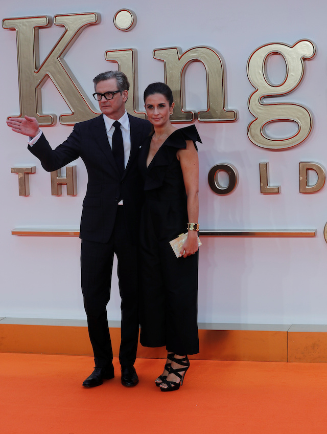 "Cast member Colin Firth arrives with his wife Livia Giuggioli for the world premiere of ""Kingsman: The Golden Circle"" in London, Britain September 18, 2017. REUTERS/Eddie Keogh"