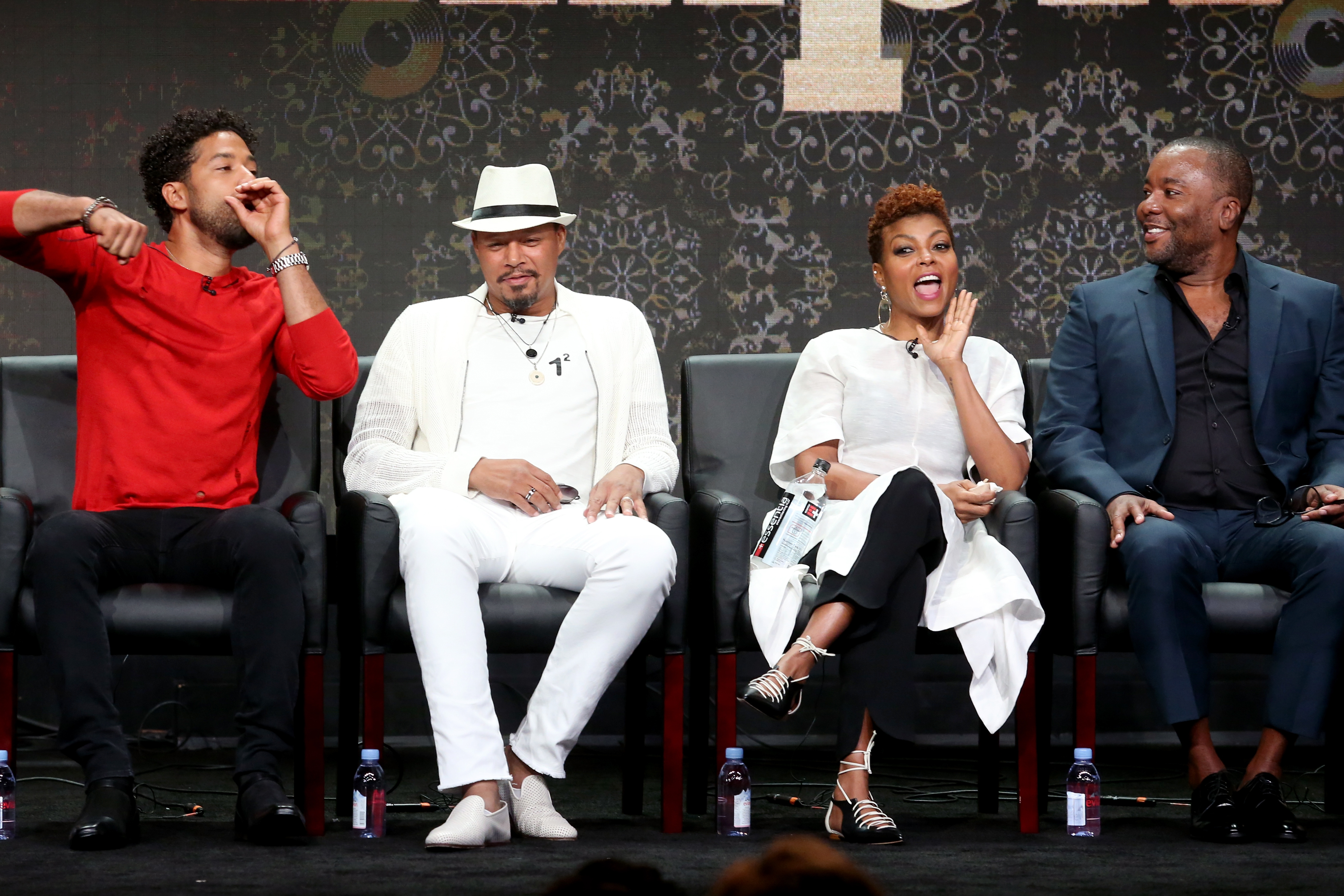 (L-R) Actors Jussie Smollett, Terrence Howard, Taraji P. Henson, and Co-Creator/Writer/Executive Producer Lee Daniels of 'Empire' speak onstage during the FOX portion of the 2017 Summer Television Critics Association Press Tour at The Beverly Hilton Hotel on August 8, 2017 in Beverly Hills, California. (Photo by Frederick M. Brown/Getty Images)