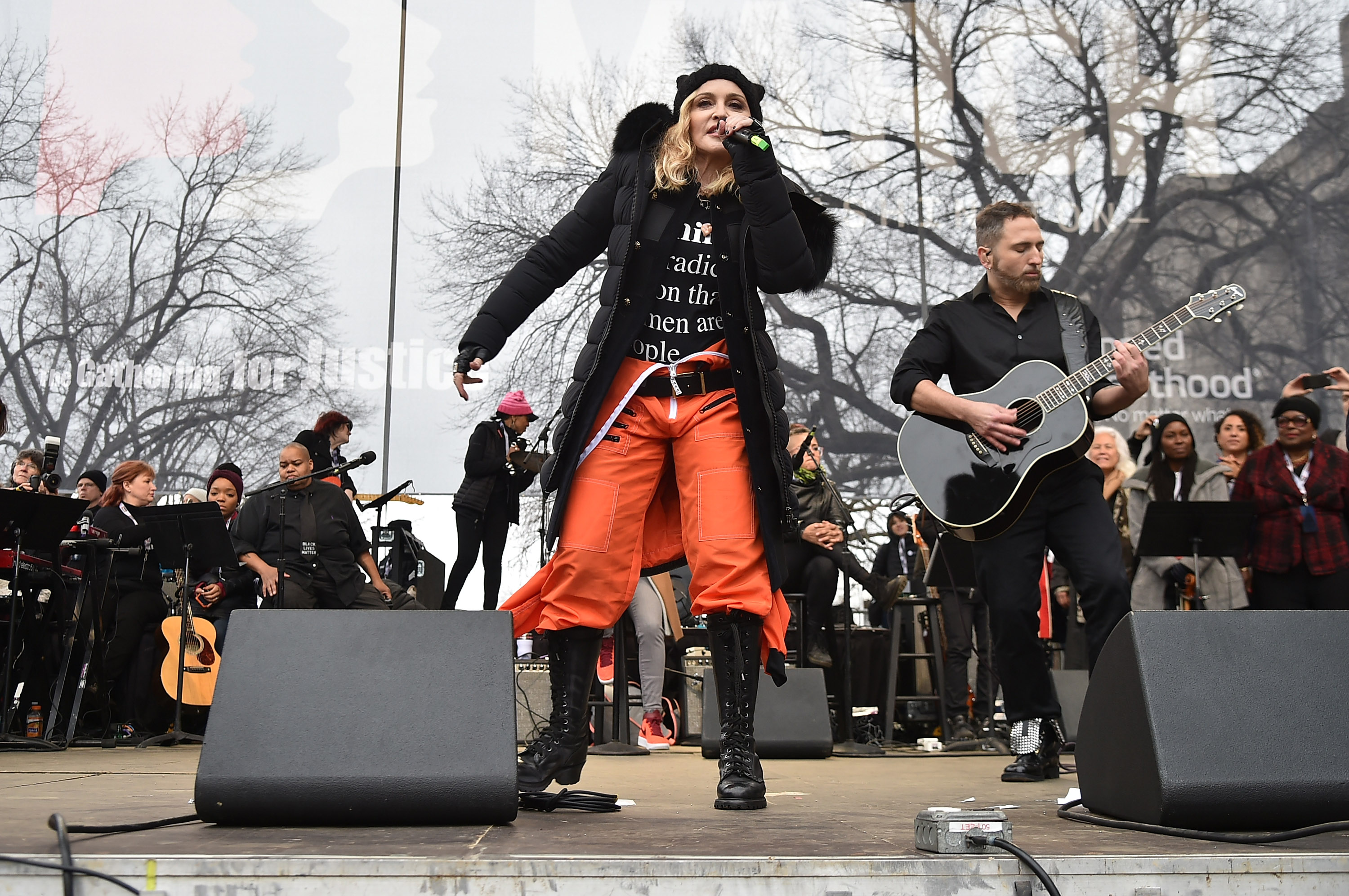 Madonna performs onstage during the Women's March on Washington on January 21, 2017 in Washington, DC. (Photo by Theo Wargo/Getty Images)