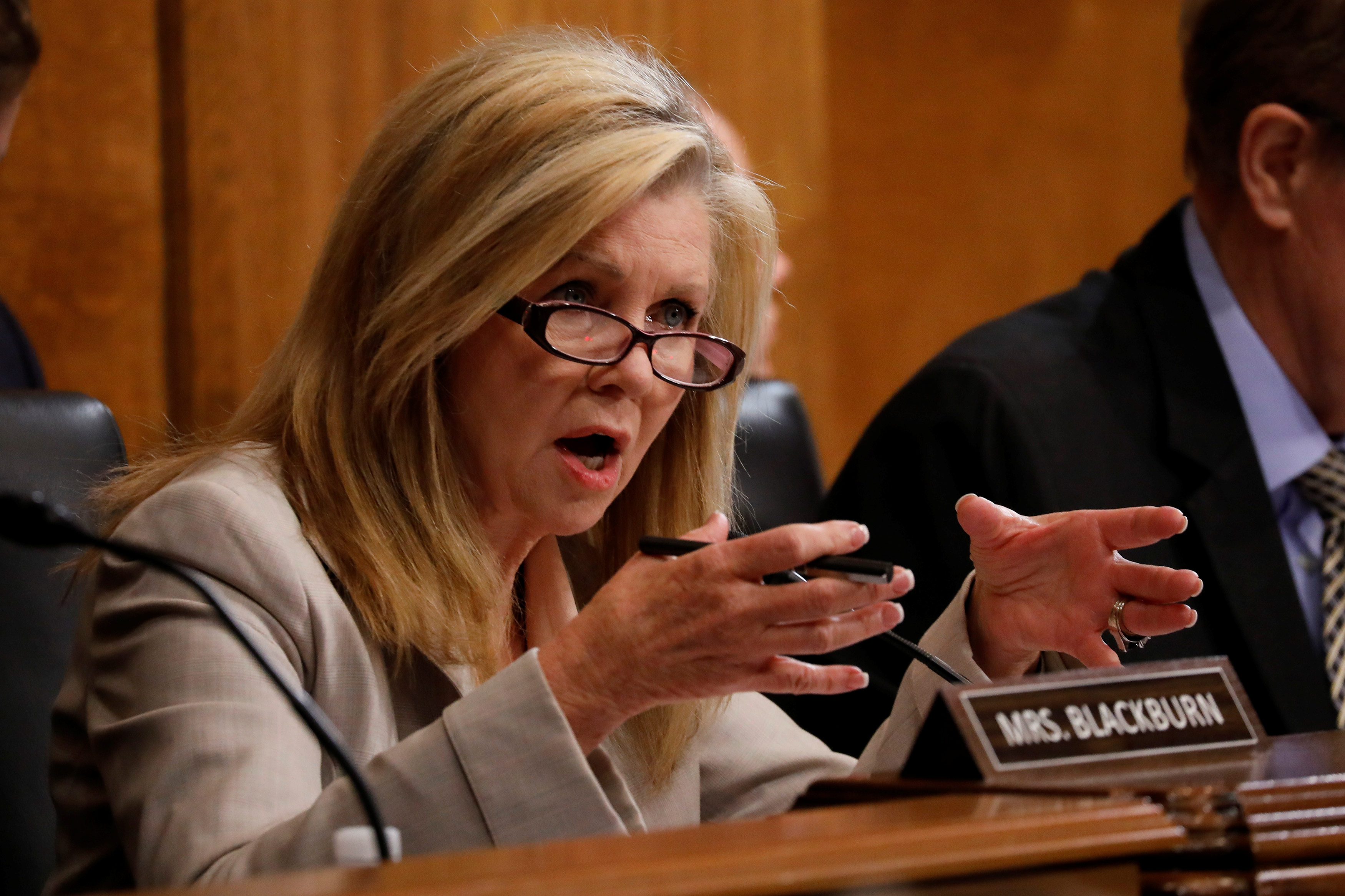 """Sen. Marsha Blackburn (R-TN) asks a question as U.S. Attorney General William Barr testifies before a Senate Judiciary Committee hearing entitled """"The Justice Department's Investigation of Russian Interference with the 2016 Presidential Election"""" on Capitol Hill in Washington, D.C., U.S., May 1, 2019. REUTERS/Aaron P. Bernstein"""