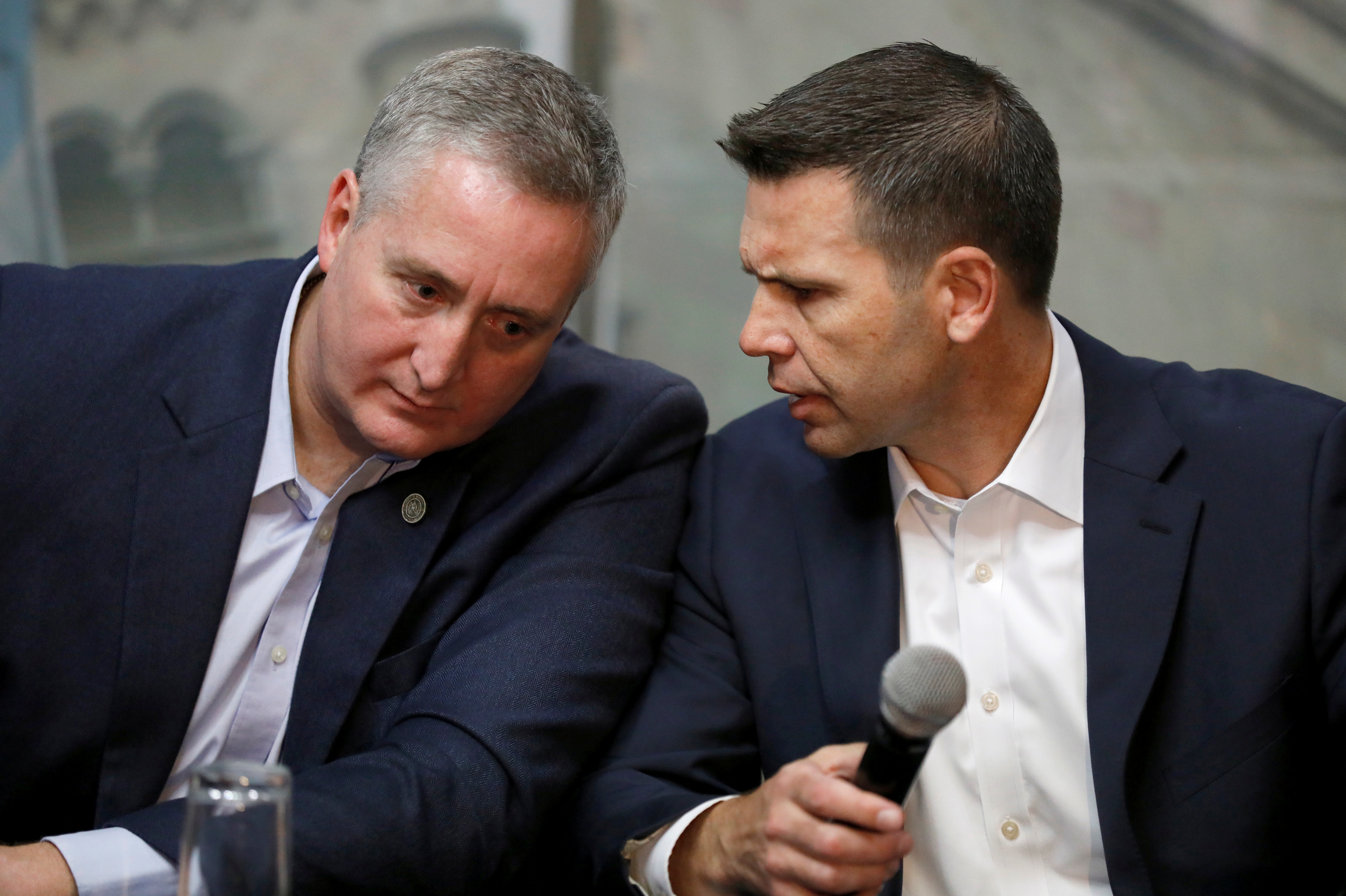 Acting U.S. Department of Homeland Security Secretary Kevin McAleenan and Guatemalan Interior Minister Enrique Degenhart attend a news conference in Guatemala City
