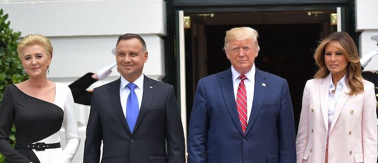 US President Donald Trump and First Lady Melania Trump greet Poland's President Andrzej Duda and his wife Agata Kornhauser-Duda at the South Portico of the White House in Washington, DC on June 12, 2019. (Photo credit: MANDEL NGAN/AFP/Getty Images)