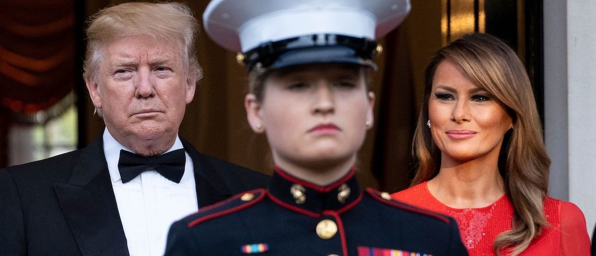 US President Donald Trump and US First Lady Melania Trump wait to greet Britain's Prince Charles, Prince of Wales and his wife Britain's Camilla, Duchess of Cornwall, ahead of a dinner at Winfield House, the residence of the US Ambassador, where US President Trump is staying whilst in London, on June 4, 2019, on the second day of the US President's three-day State Visit to the UK. (Photo credit: NIKLAS HALLE'N/AFP/Getty Images)