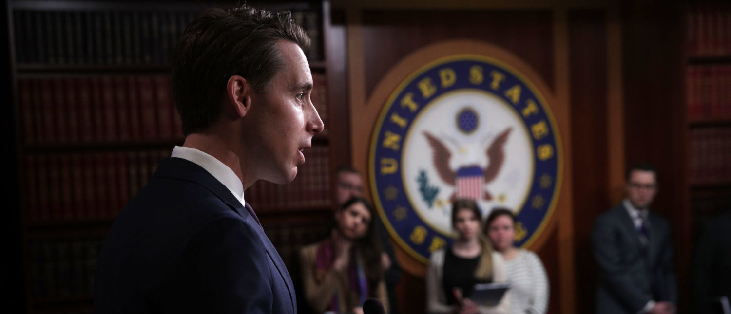 Sen. Josh Hawley (R-MO) speaks during a news conference at the U.S. Capitol on April 2, 2019 (Alex Wong/Getty Images)