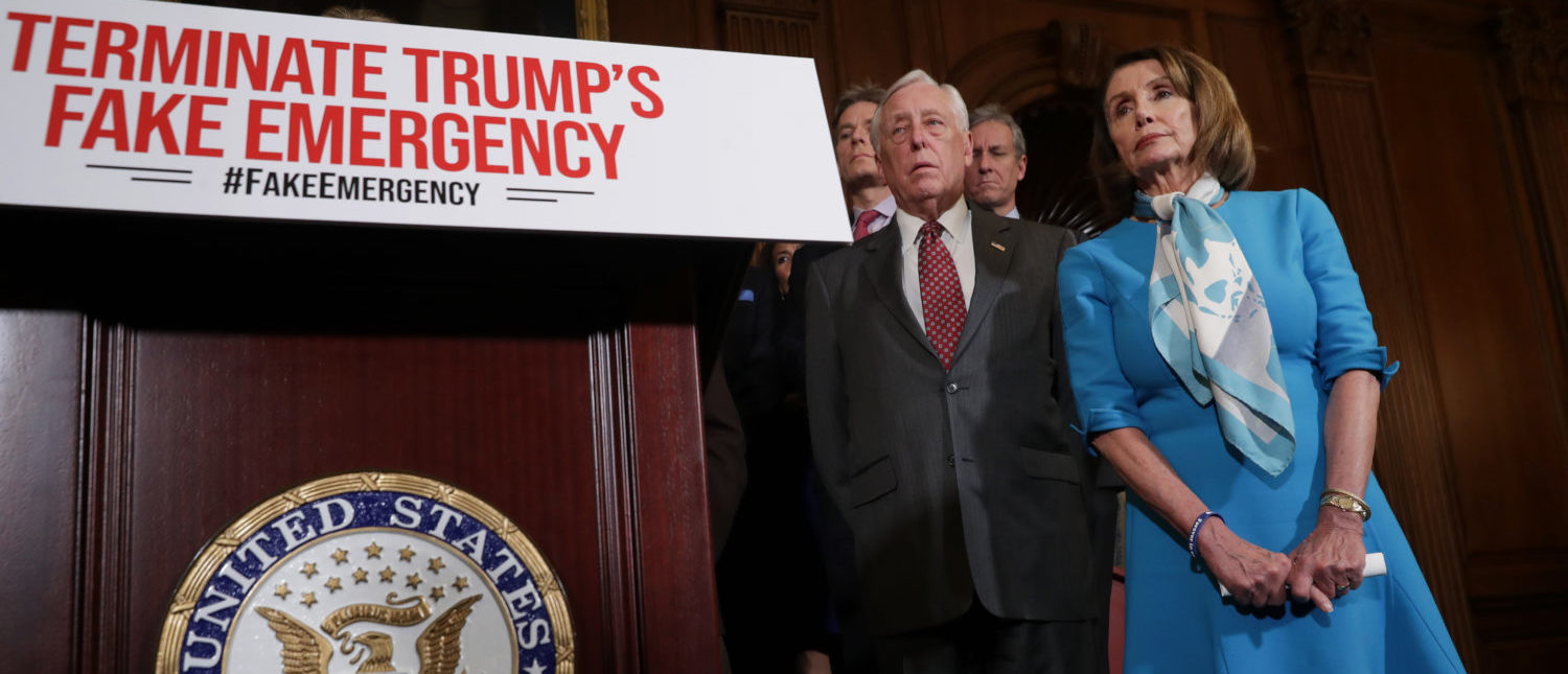 Speaker Nancy Pelosi (D-CA) and other House Democrats discuss President Donald Trump's emergency declaration on February 25, 2019. (Chip Somodevilla/Getty Images)