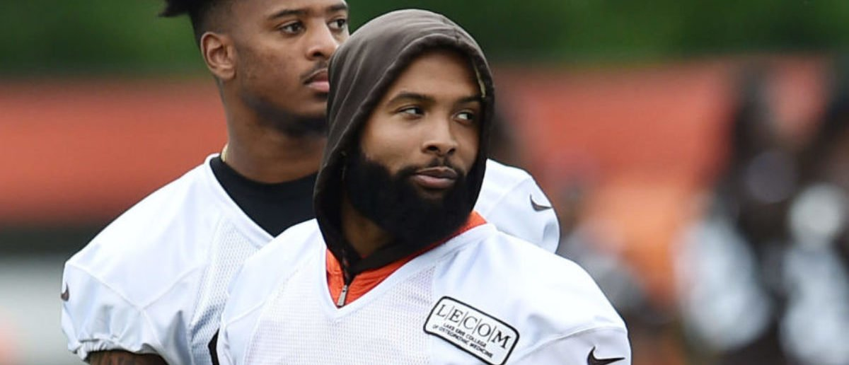 Jun 4, 2019; Berea, OH, USA; Cleveland Browns wide receiver Odell Beckham Jr. (13) and wide receiver Rashard Higgins (81) participate in a walk-through during minicamp at the Cleveland Browns training facility. Mandatory Credit: Ken Blaze-USA TODAY Sports - via Reuters