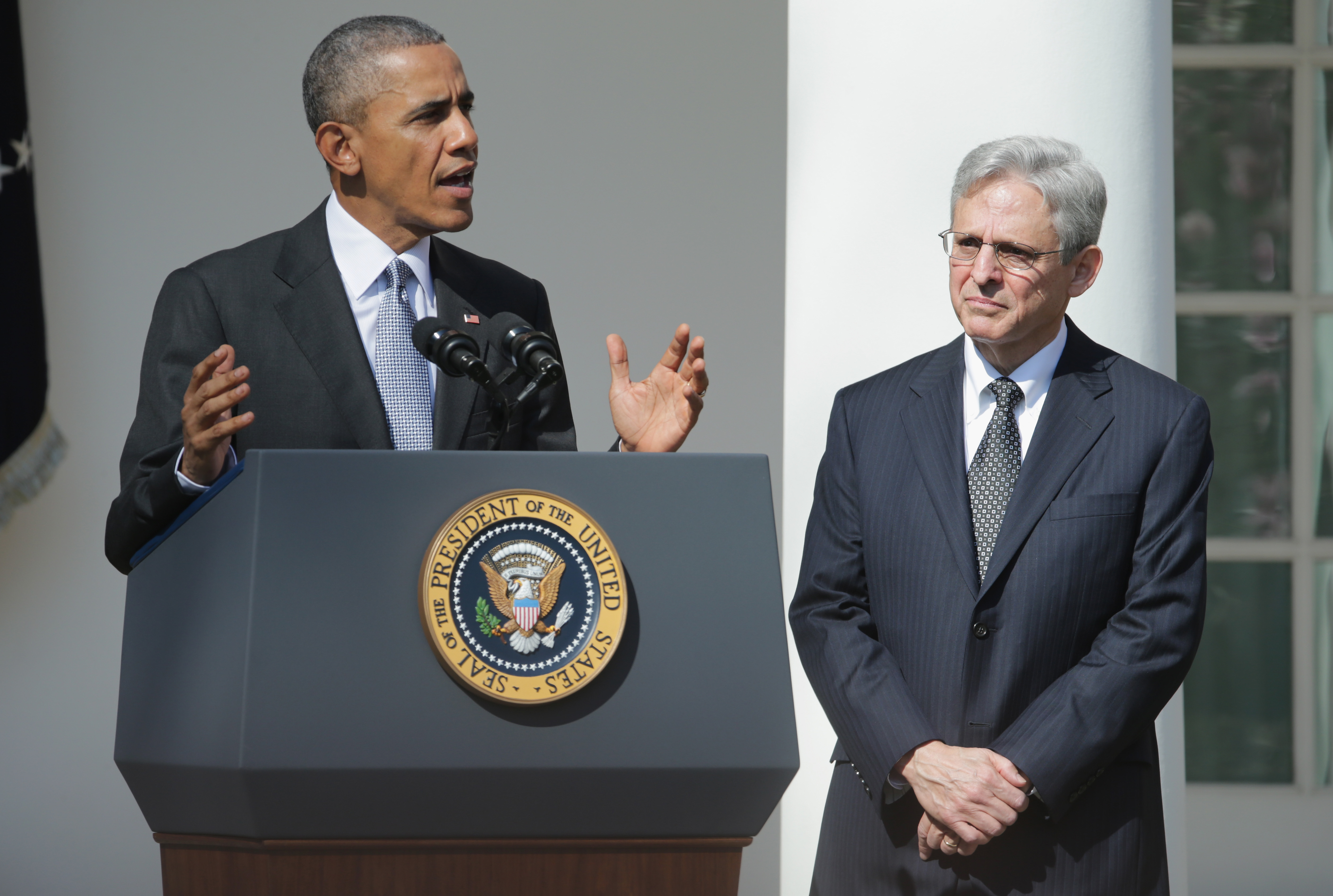 Former President Barack Obama stands with Judge Merrick B. Garland in the Rose Garden at the White House while nominating him to the Supreme Court on March 16, 2016. (Chip Somodevilla/Getty Images)