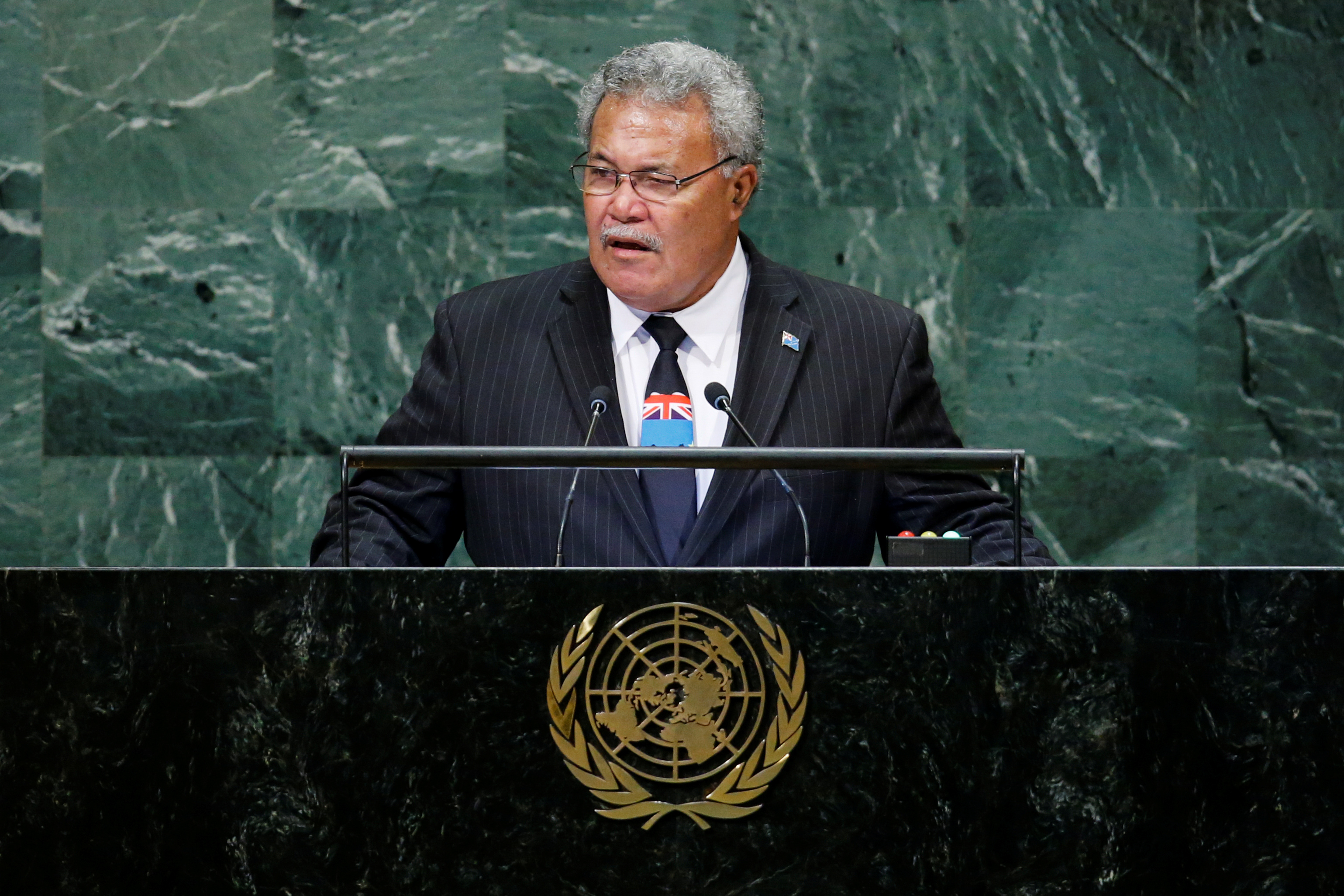 Tuvalu Prime Minister Sopoaga addresses the 73rd session of the United Nations General Assembly at U.N. headquarters in New York