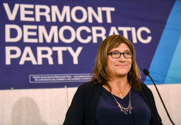 Democratic gubernatorial candidate Christine Hallquist concedes defeat to Phil Scott in Burlington, Vermont, U.S. November 6, 2018. (REUTERS/Caleb Kenna)