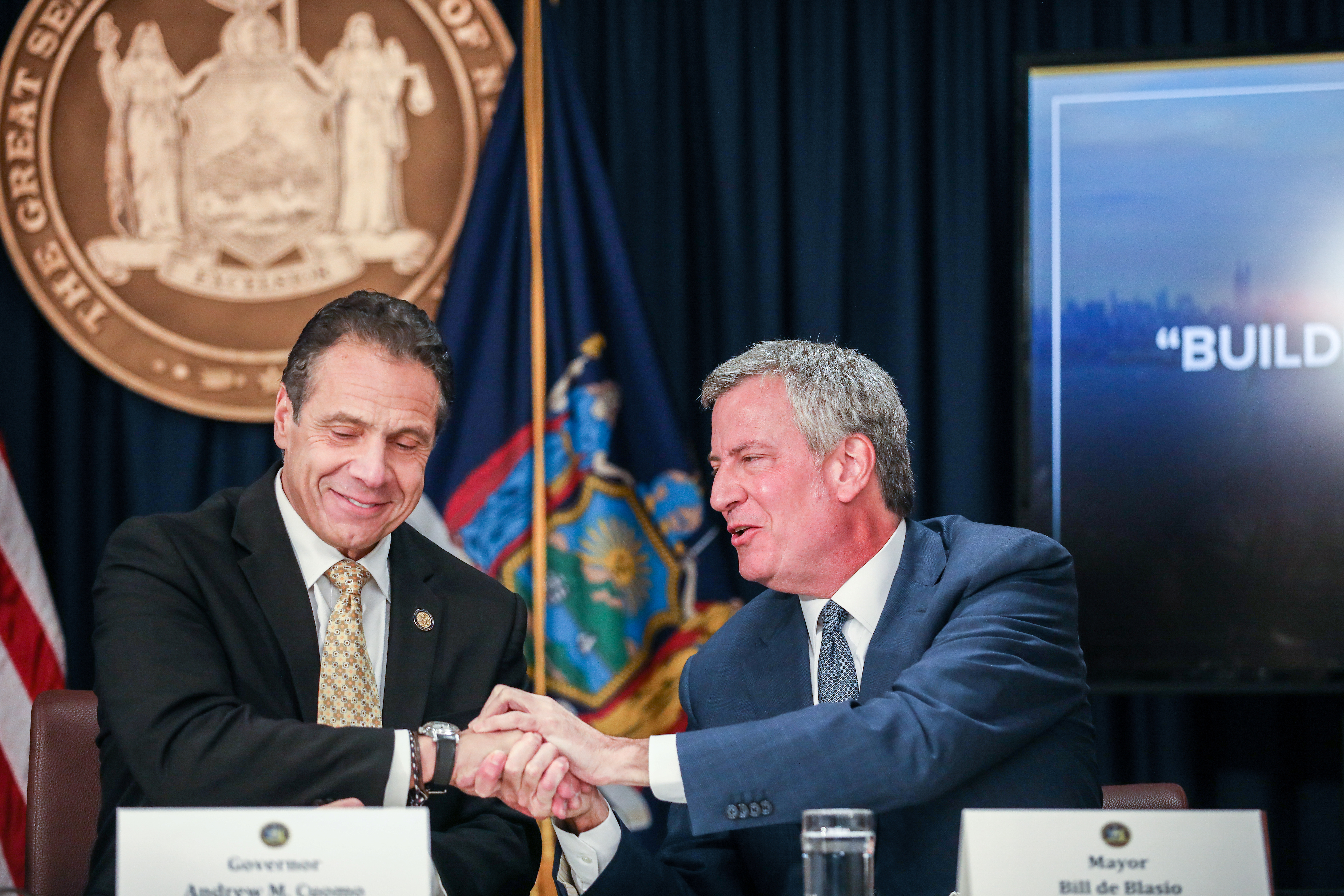 New York Governor Andrew Cuomo and New York Mayor Bill de Blasio speak during a news conference about Amazon's headquarters expansion to Long Island City in the Queens borough of New York