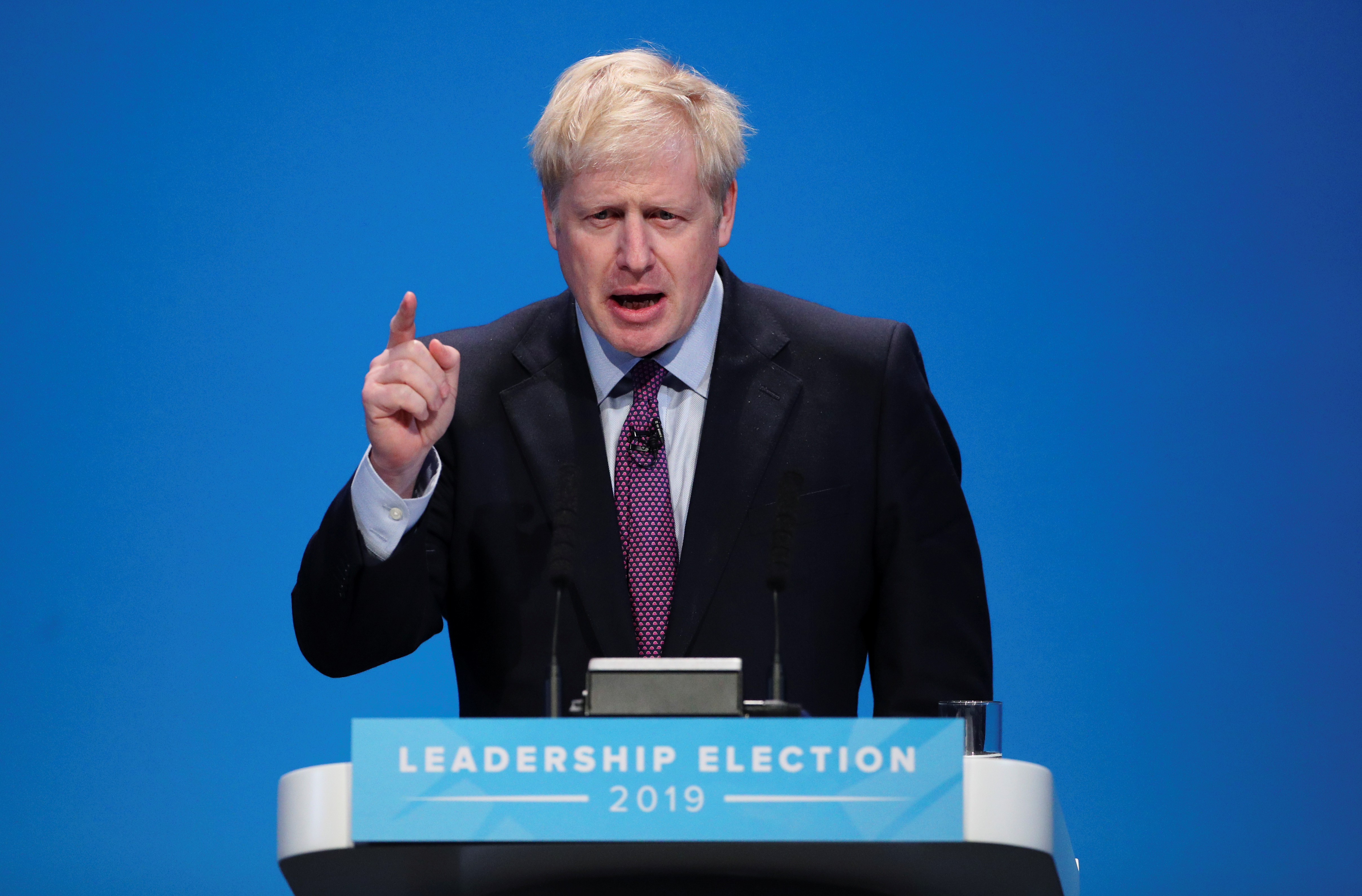 Boris Johnson, a leadership candidate for Britain's Conservative Party, talks during a hustings event in Birmingham, Britain, June 22, 2019. REUTERS/Hannah McKay