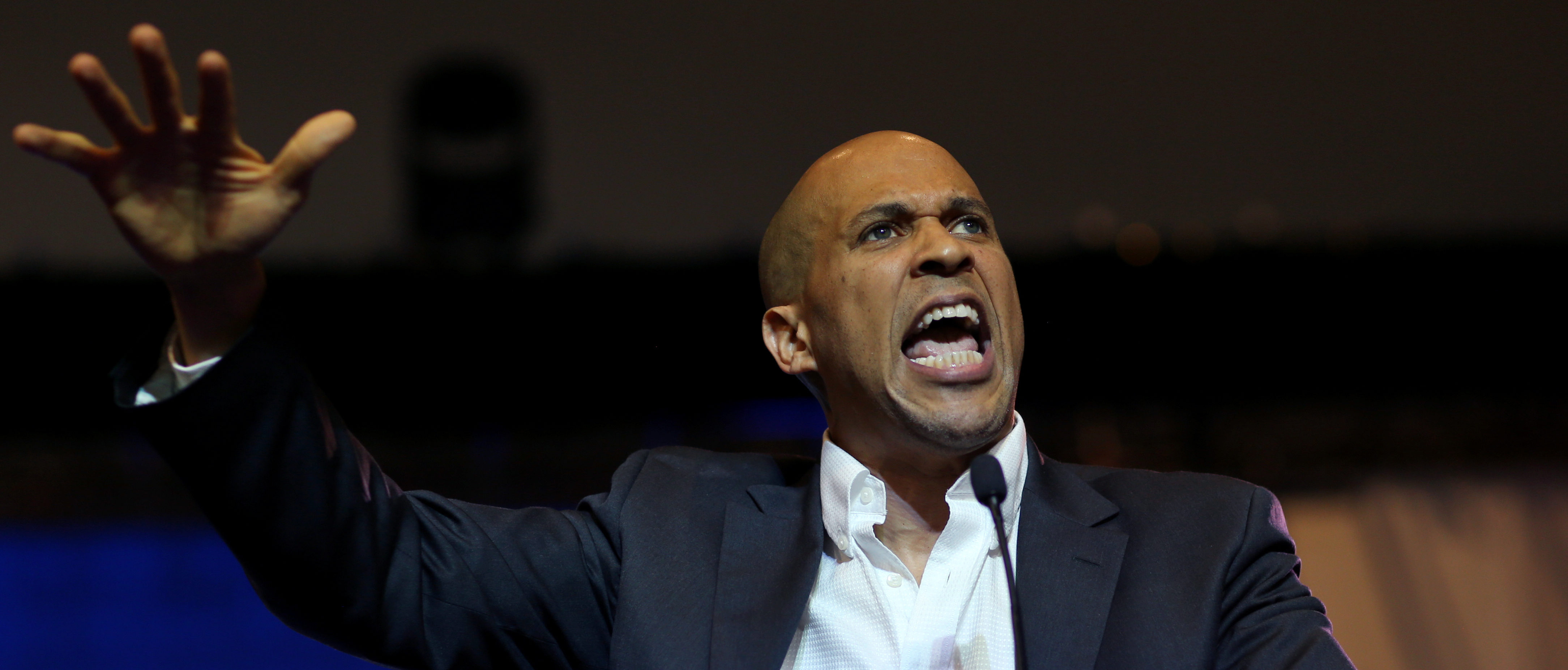 Democratic presidential candidate Senator Cory Booker delivers a speech during the SC Democratic Convention in Columbia, South Carolina, U.S., June 22, 2019. Picture taken June 22, 2019. REUTERS/Leah Millis
