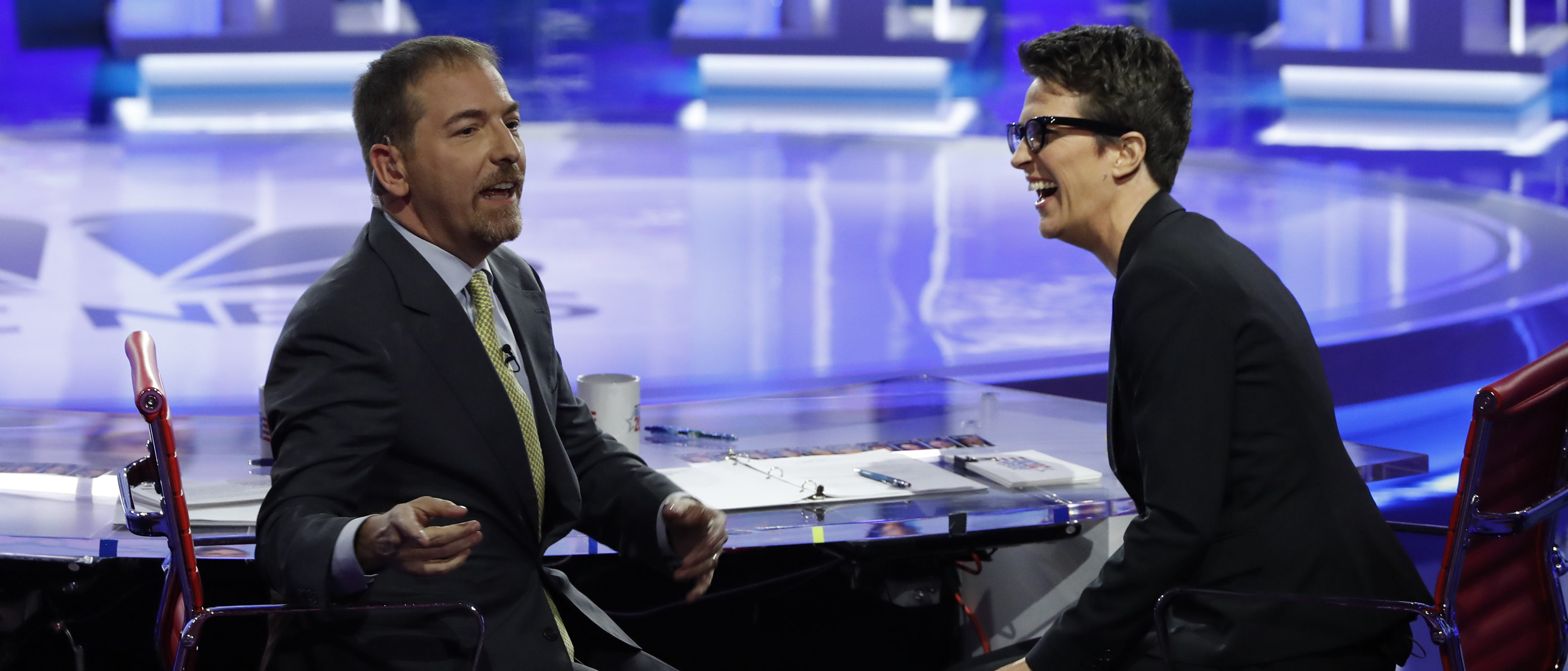 MSNBC debate moderators Chuck Todd and Rachel Maddow speak to the audience during the first U.S. 2020 presidential election Democratic candidates debate in Miami, Florida, U.S., June 26, 2019. REUTERS/Mike Segar