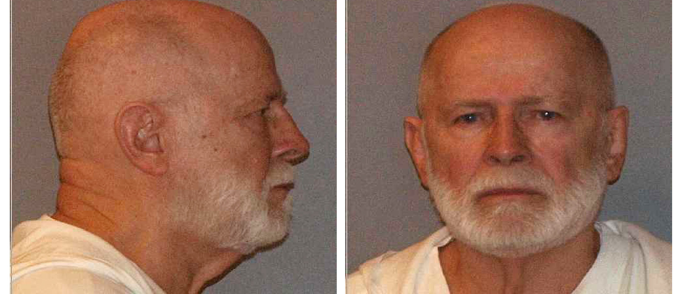 """Former mob boss and fugitive James """"Whitey"""" Bulger, who was arrested in Santa Monica, California on June 22, 2011 along with his longtime girlfriend Catherine Greig, is seen in a combination of booking mug photos released to Reuters on August 1, 2011. Bulger, currently on trial in Boston for murder and racketeering, has angrily cursed in open court, his own lawyer has described him as a mobster and one potential witness this week turned up dead on the side of a road. As prosecutors prepare to wrap up their case early next week and hand it over to the defense, the biggest question on observers' minds is whether the 83-year-old defendant will break with convention once more and take to the witness stand. REUTERS/U.S. Marshals Service/U.S. Department of Justice/Handout"""